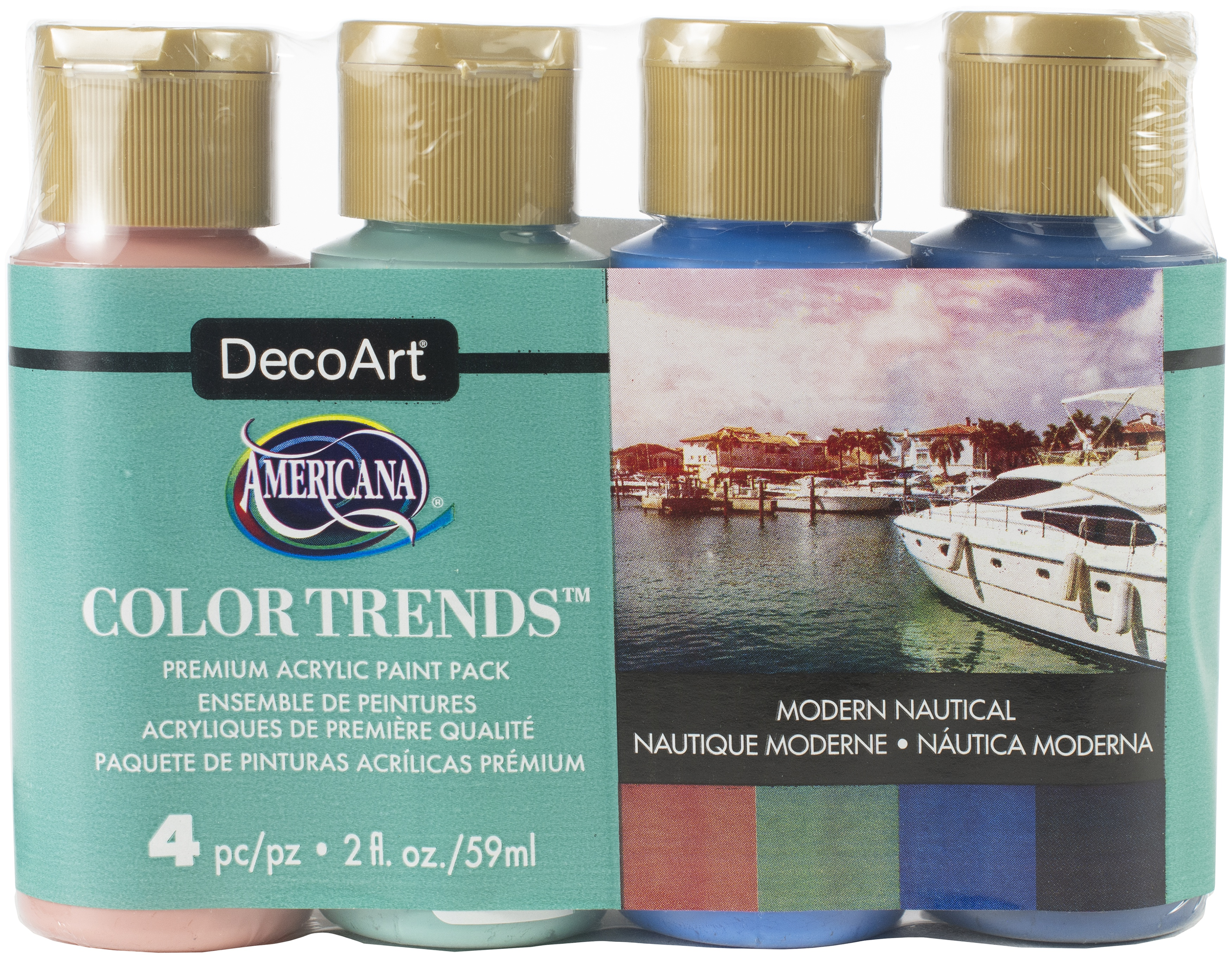Americana Acrylics Color Trends Value Pack 4/Pkg-Modern Nautical
