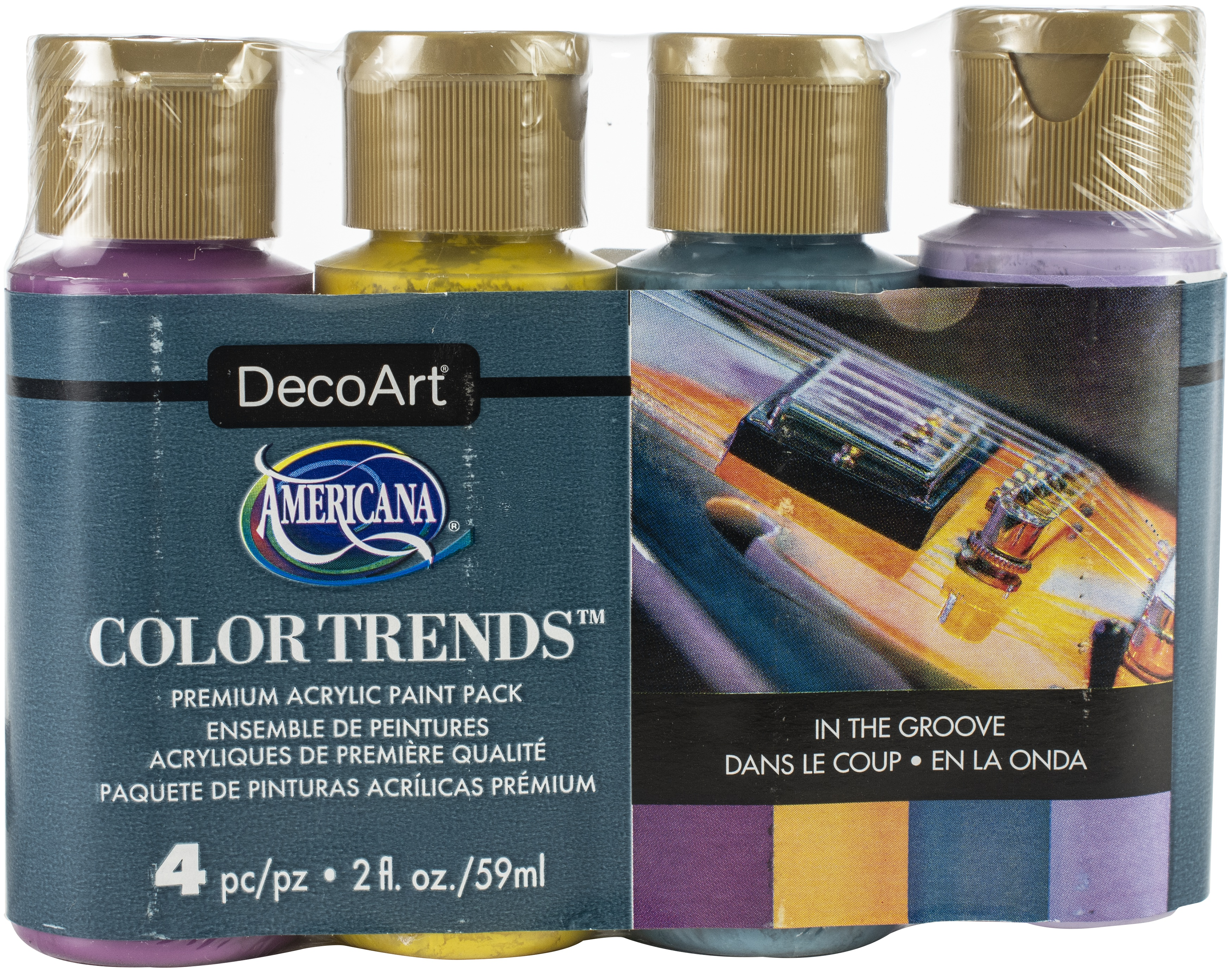 Americana Acrylics Color Trends Value Pack 4/Pkg-In The Groove