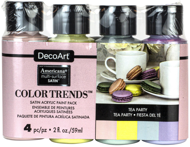 Americana Multi-Surface Satin Color Trends Value Pack 4/Pkg-Tea Party
