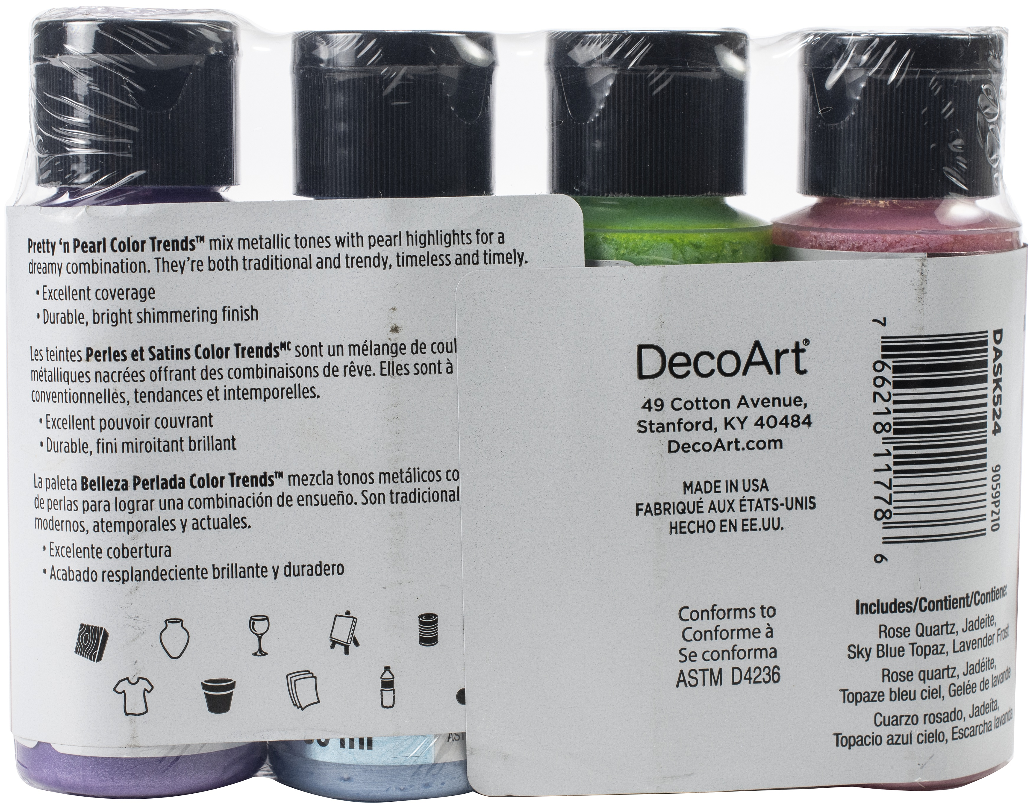 DecoArt Extreme Sheen Color Trends Value Pack 4/Pkg-Pretty 'n Pearls