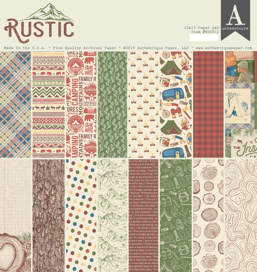 Authentique Double-Sided Cardstock Pad 12X12 18/Pkg-Rustic, 6 Designs/3 Each