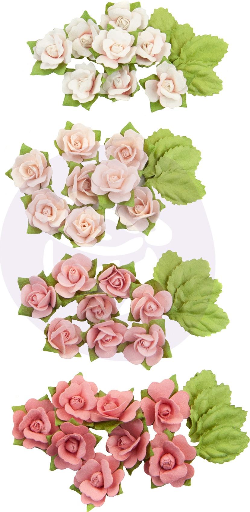 Prima Marketing Mulberry Paper Flowers  -Raspberry Kisses/Fruit Paradise, 48/Pkg