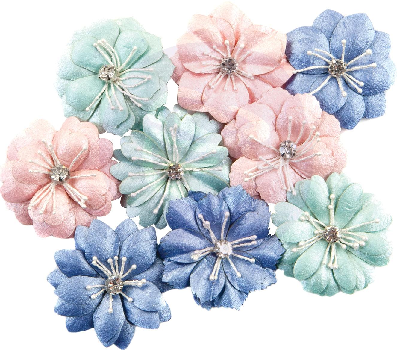 Prima Marketing Mulberry Paper Flowers  -Newport Bliss/Golden Coast, 9/Pkg