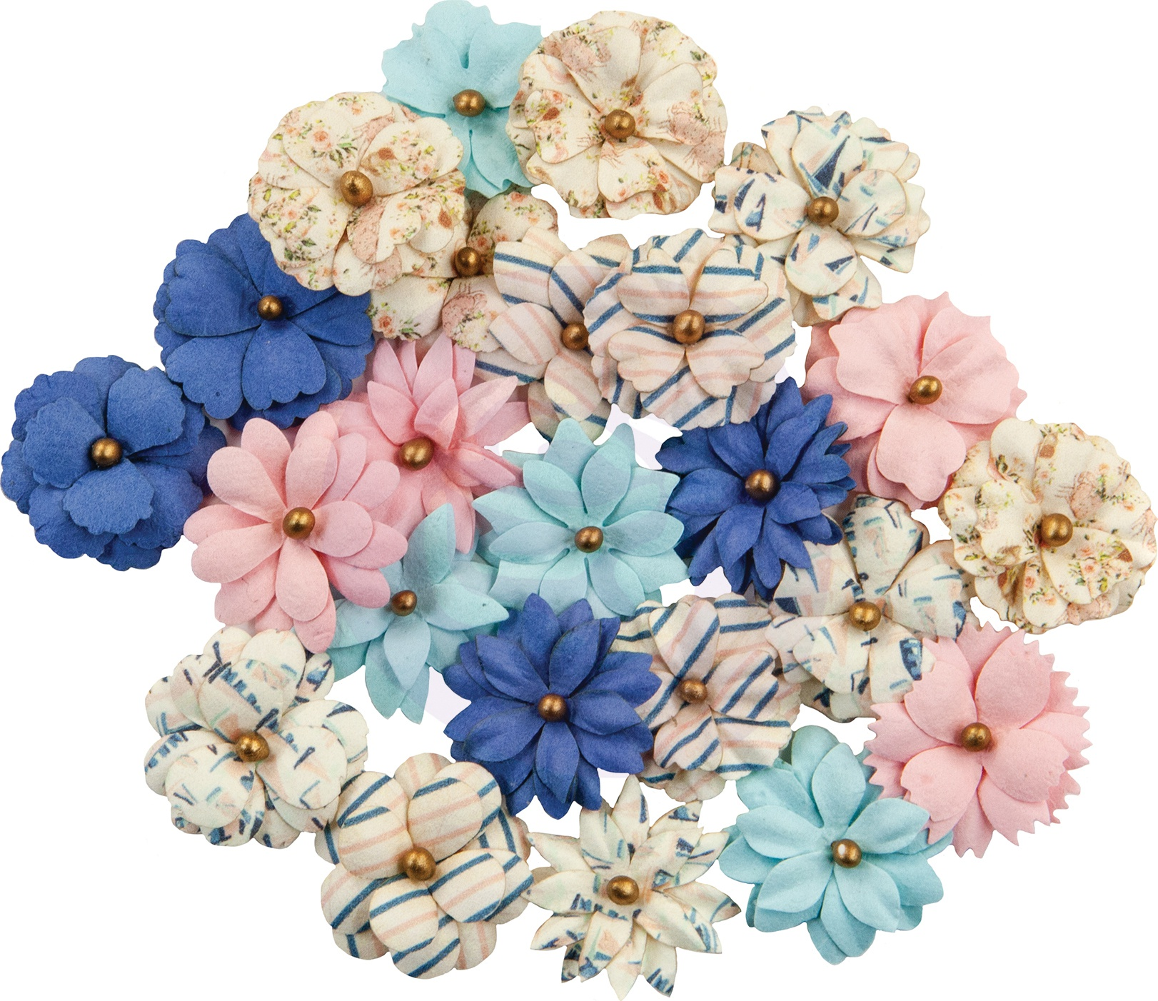 Prima - Mulberry Paper Flowers  - Moon Bay/Golden Coast, 24/Pkg