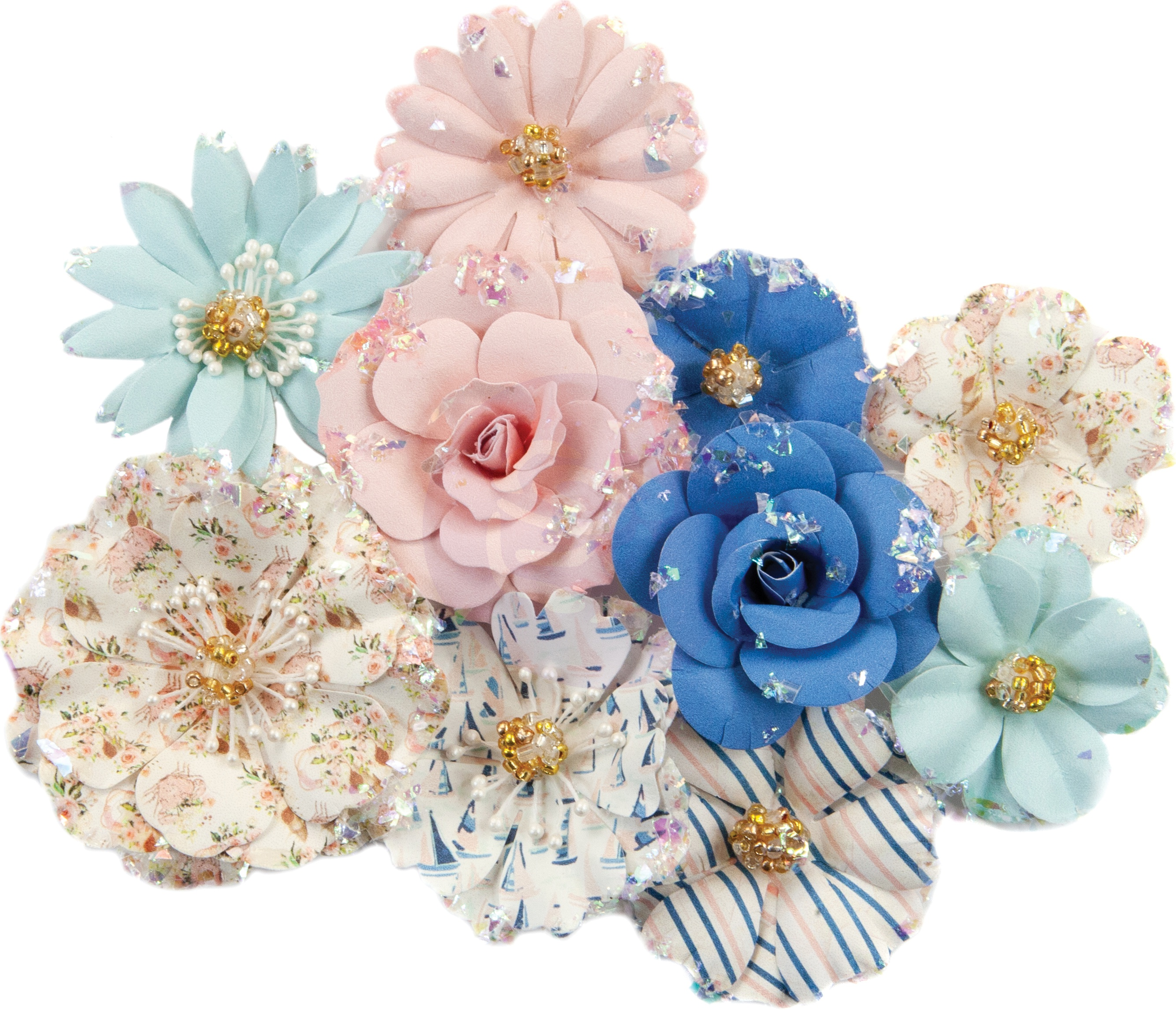 Prima Marketing Mulberry Paper Flowers  -Hermosa Beach/Golden Coast, 10/Pkg