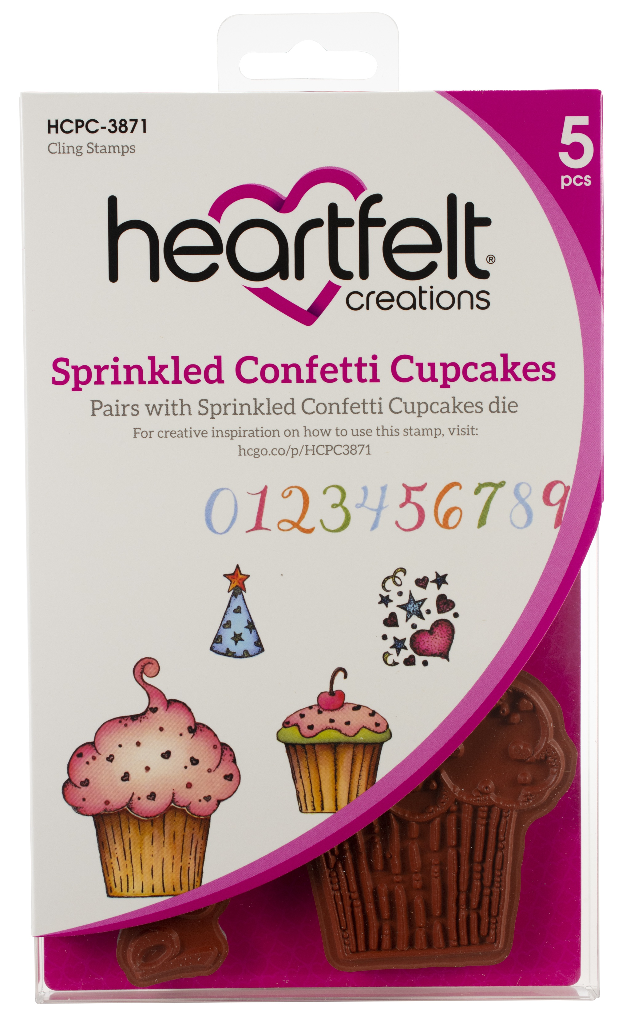 Heartfelt Creations Cling Rubber Stamp  and die Set-Sprinkled Confetti Cupcakes .75 To 5...