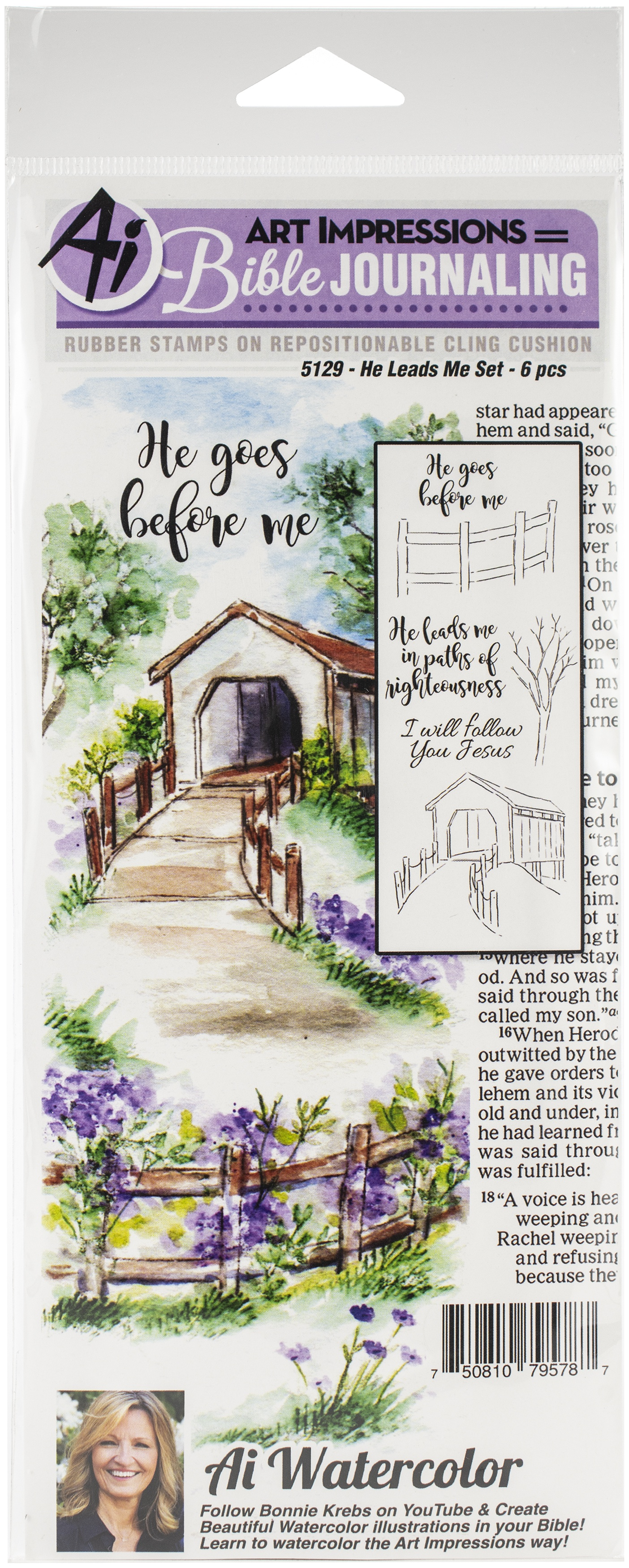 Art Impressions Bible Journaling Watercolor Rubber Stamps-Bible Flower