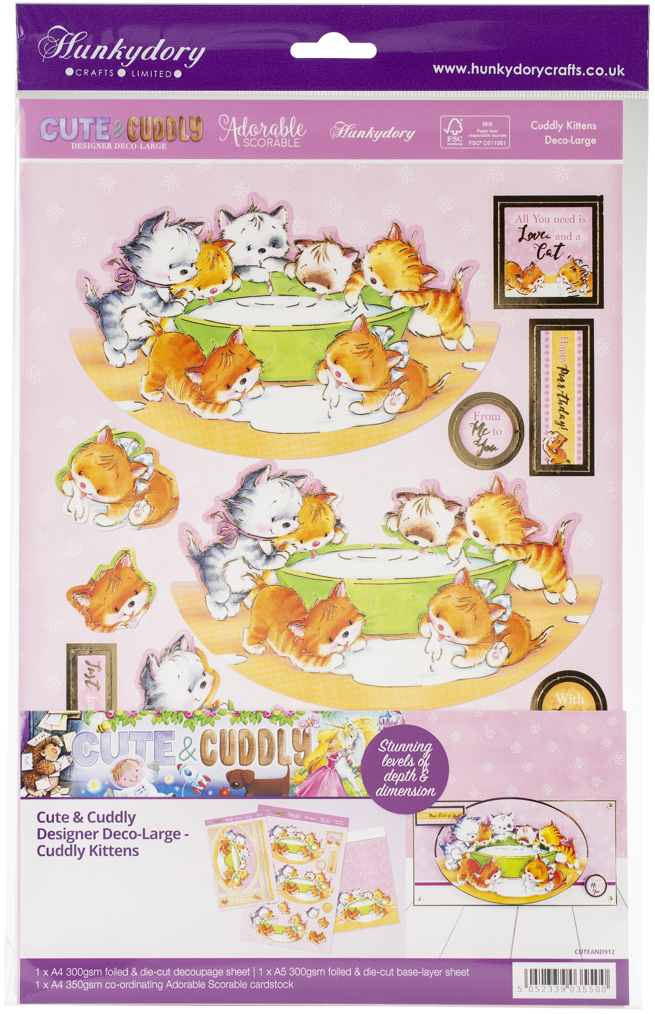 Hunkydory Cute & Cuddly A4 Decoupage Large Set-Cuddly Kittens