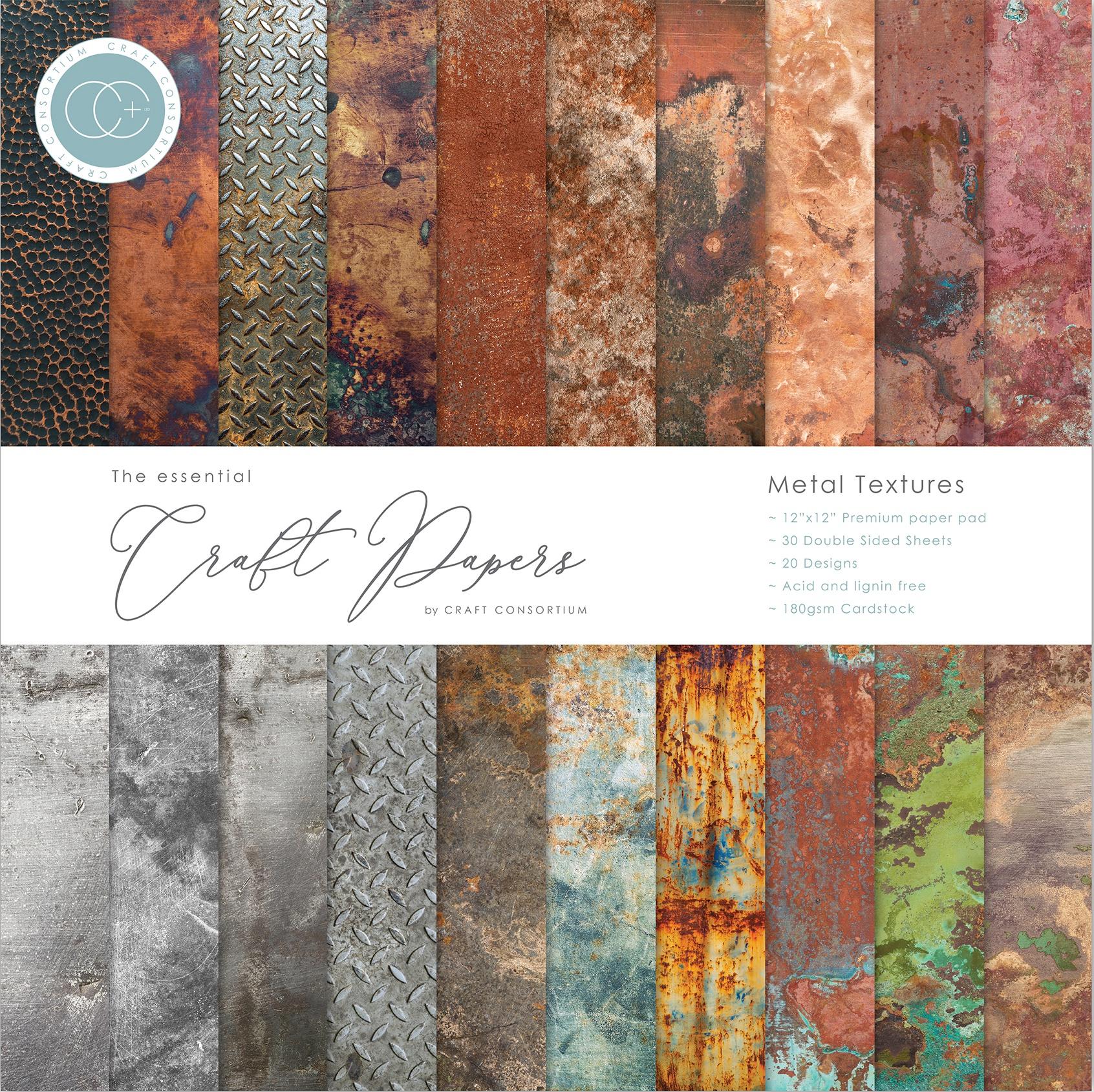 Craft Consortium Double-Sided Paper Pad 12X12 30/Pkg-Metal Textures, 20 Design...