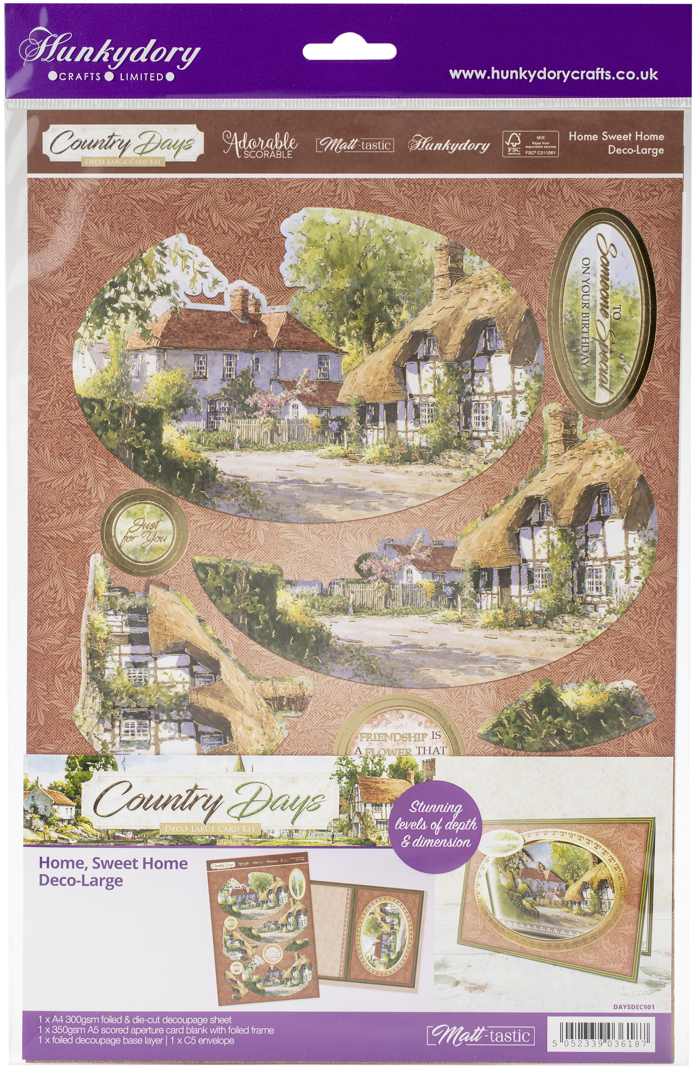 Hunkydory Country Days A4 Decoupage Large Set-Home, Sweet Home