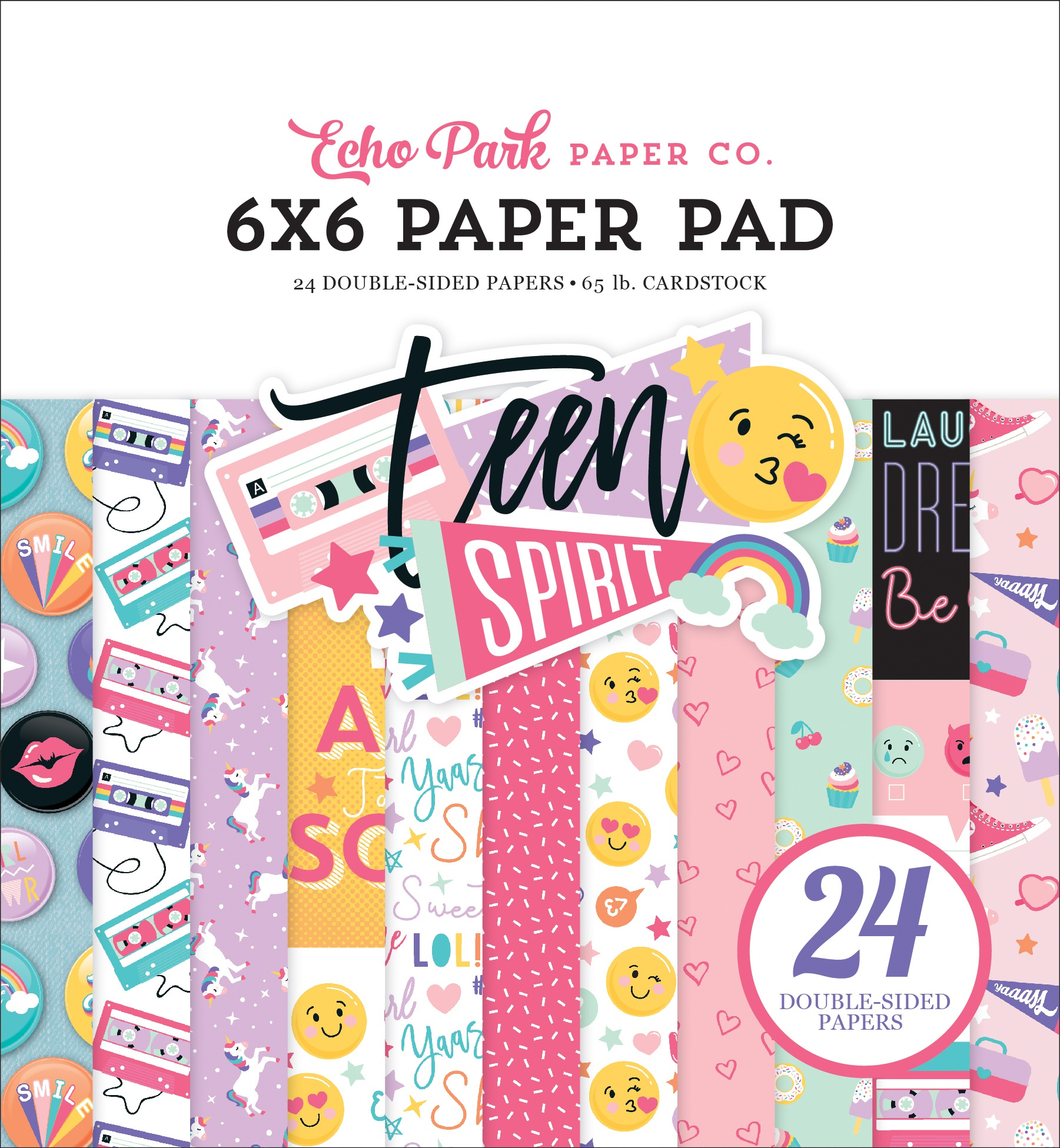 Echo Park Double-Sided Paper Pad 6X6 24/Pkg-Teen Spirit Girl, 12 Designs/2 Eac...