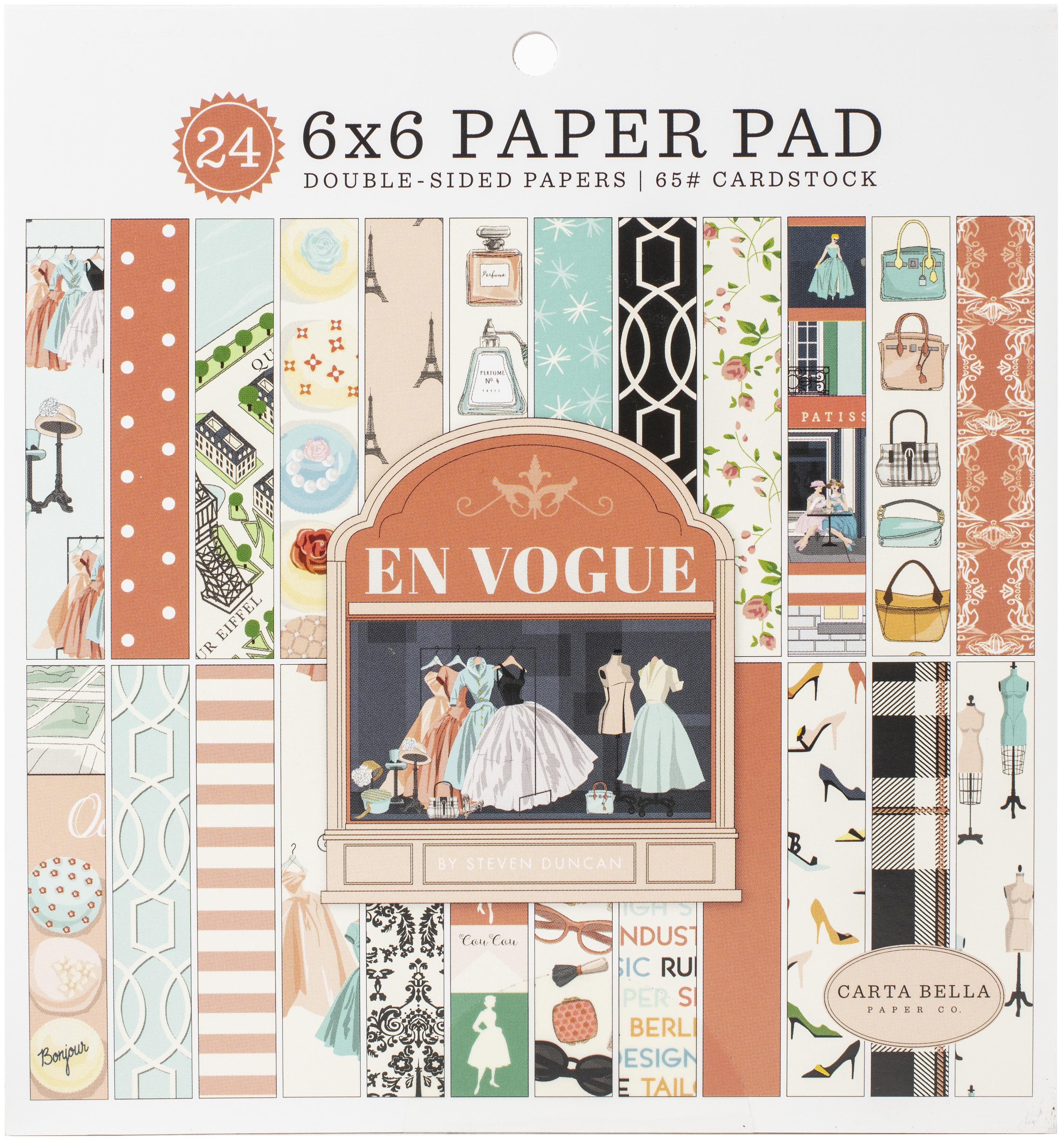 Carta Bella Double-Sided Paper Pad 6X6 24/Pkg-En Vogue, 12 Designs/2 Each