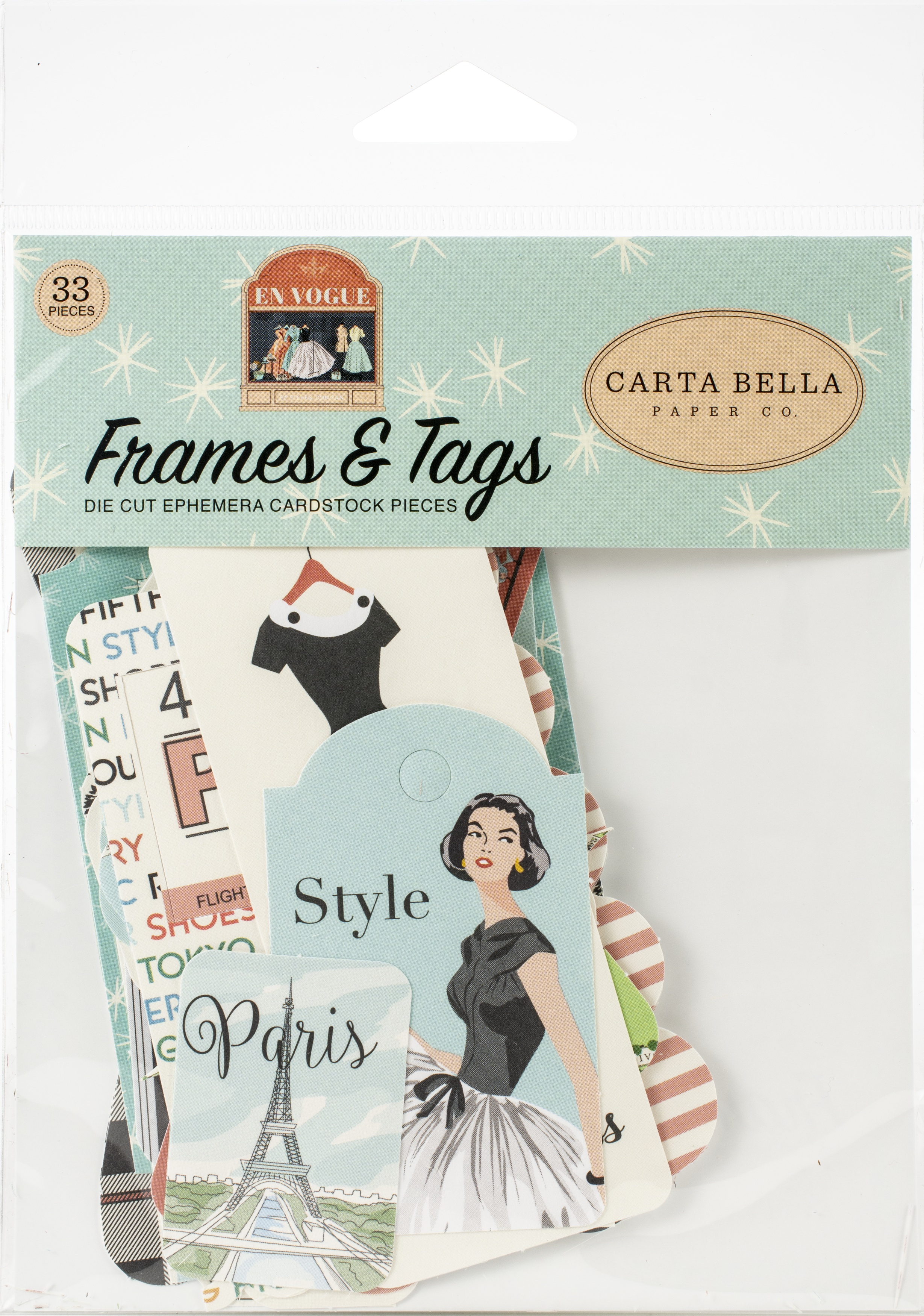 Carta Bella Cardstock Ephemera 33/Pkg-Frames & Tags, En Vogue