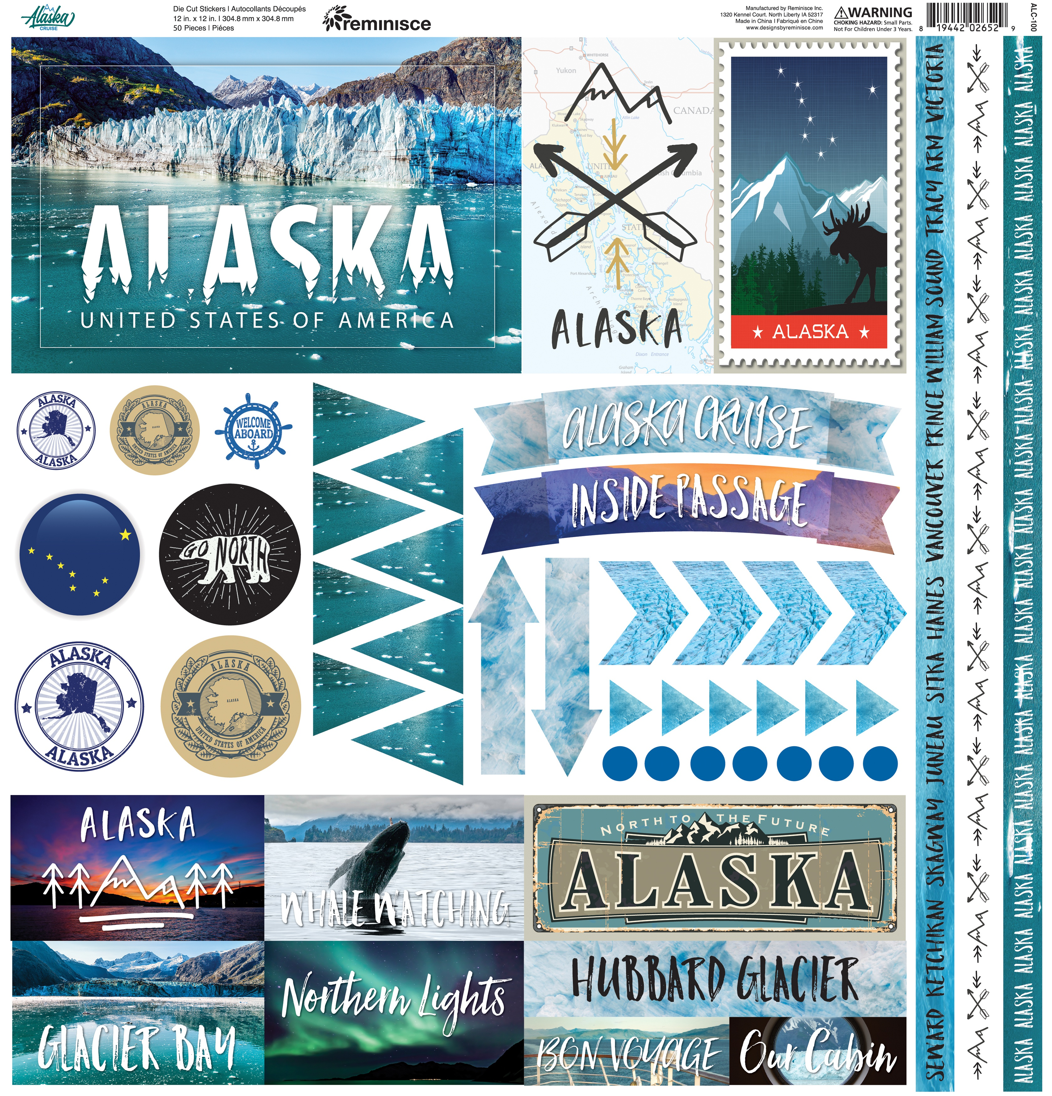 Reminisce Elements Cardstock Stickers 12X12-Alaska Cruise