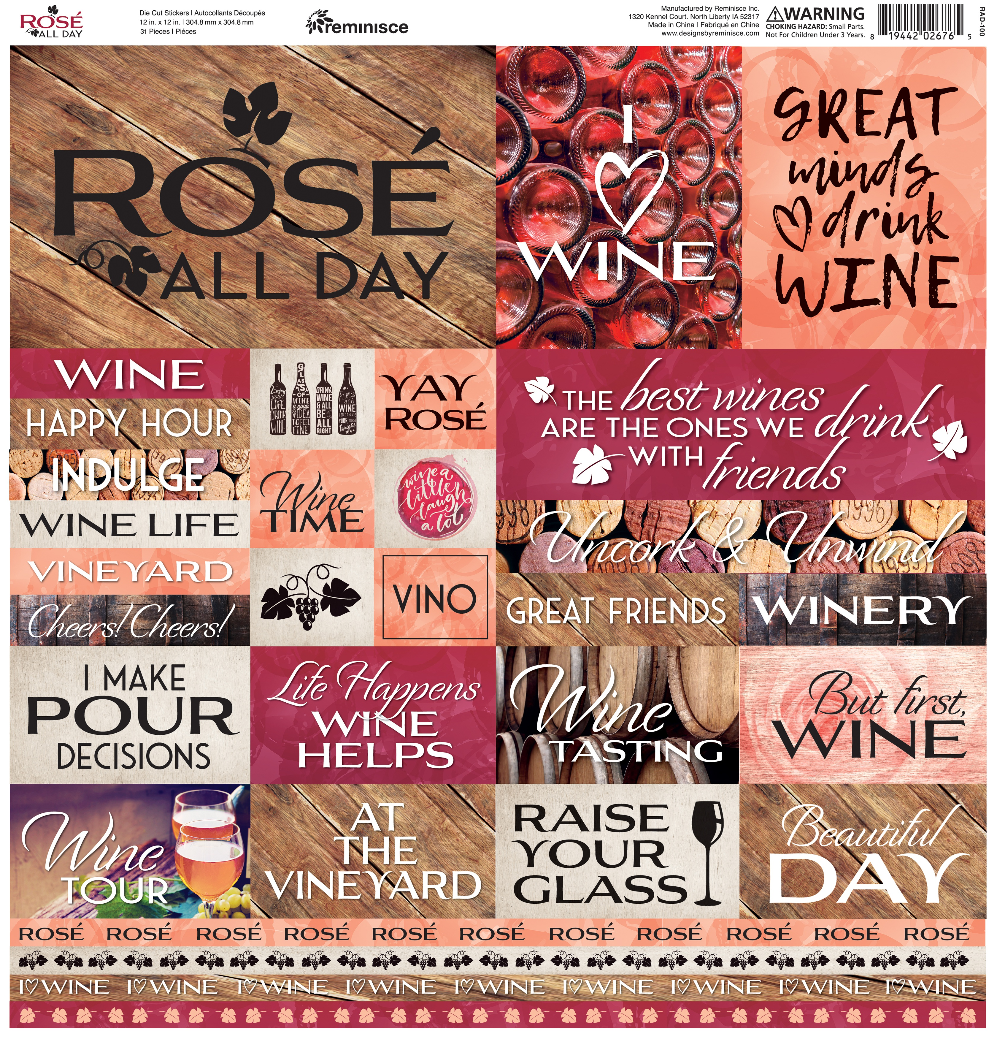 Reminisce Box Cardstock Stickers 12X12-Rose All Day
