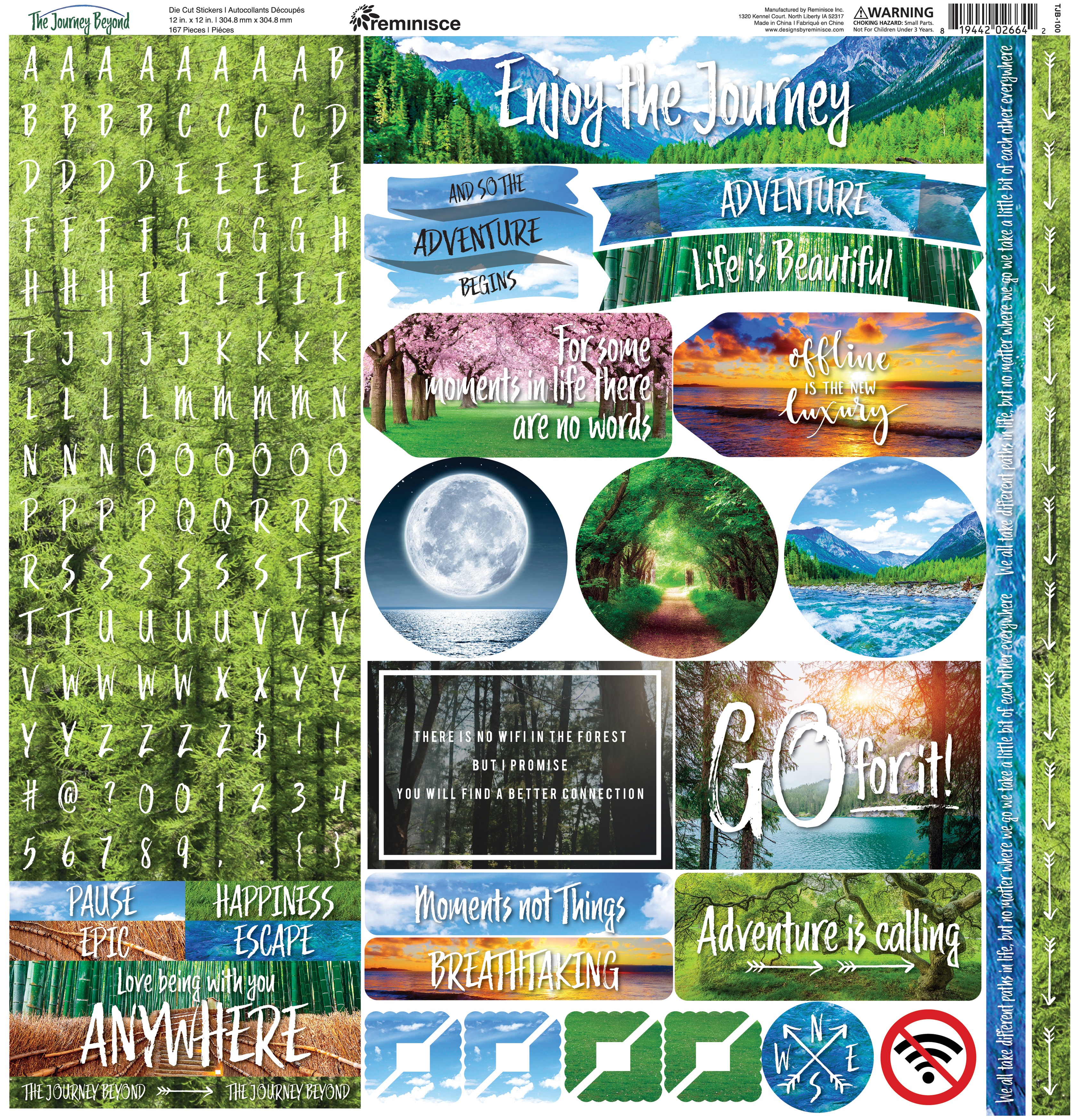 Reminisce Alpha Combo Cardstock Stickers 12X12-The Journey Beyond