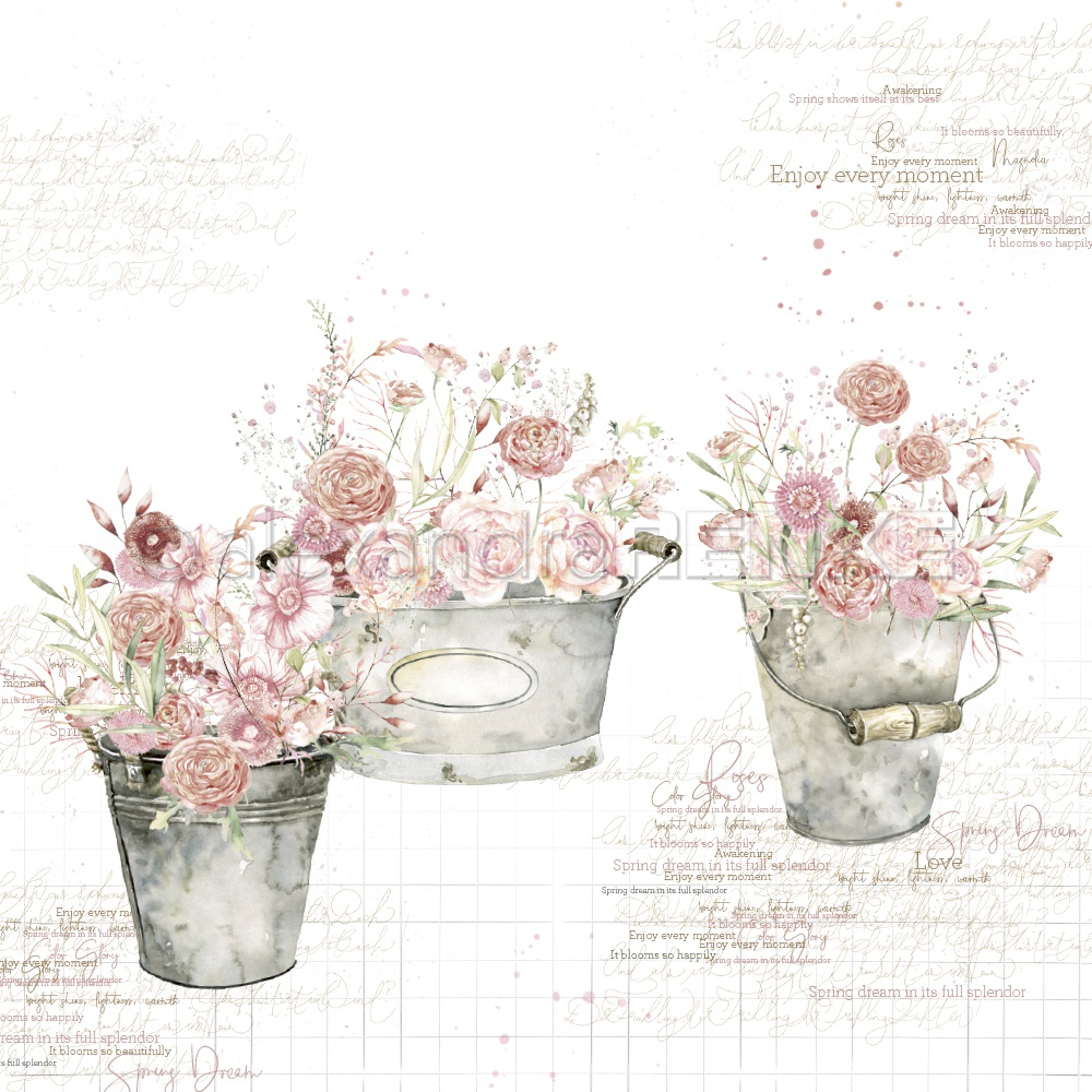 Alexandra Renke Buckets Design Paper 12X12-Rose Flowers In Buckets