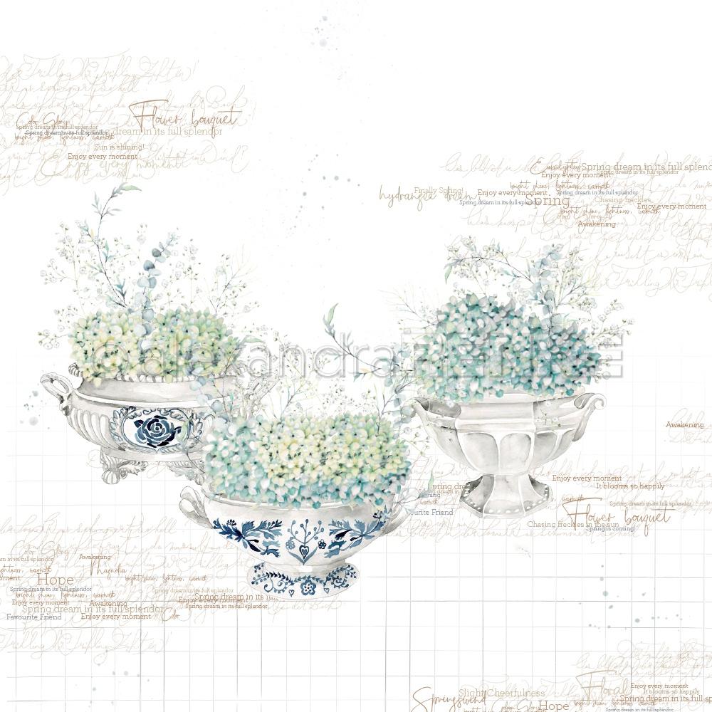 Alexandra Renke Buckets Design Paper 12X12-Hydrangeas In Bowls