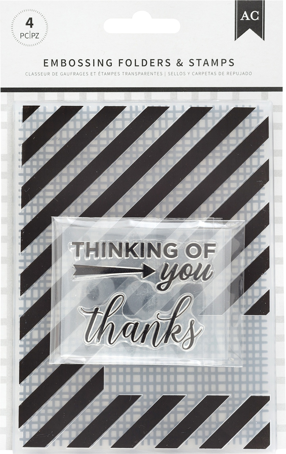 American Crafts Embossing Folders & Stamps Set-Thankful Thinking