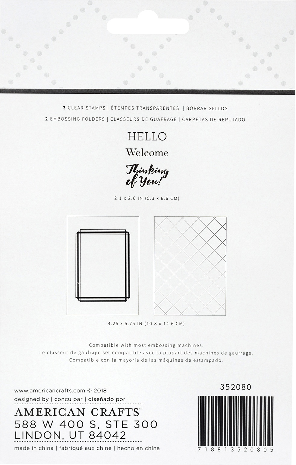 American Crafts Embossing Folders & Stamps Set-Welcome