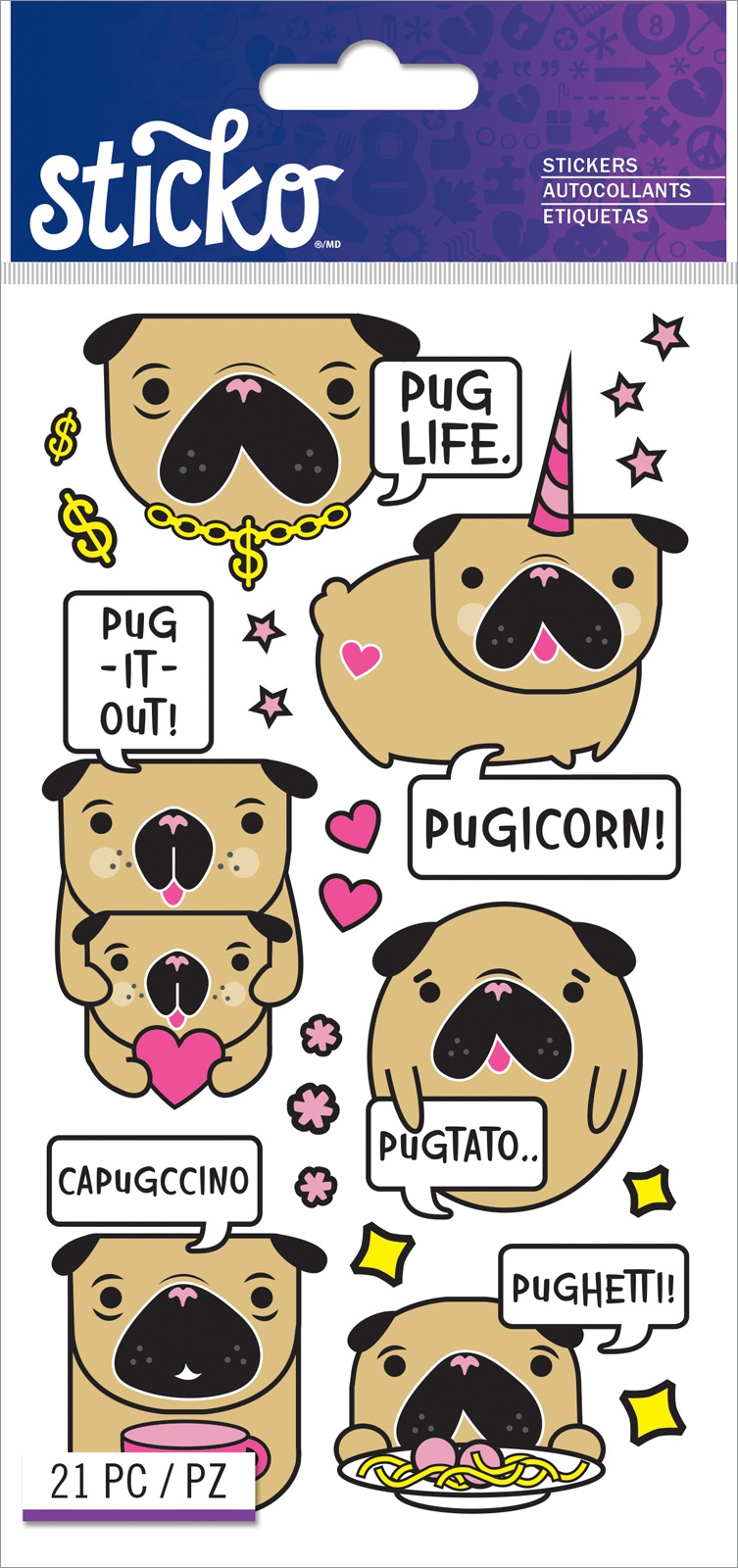 Sticko Classic Stickers-Funny Pugs