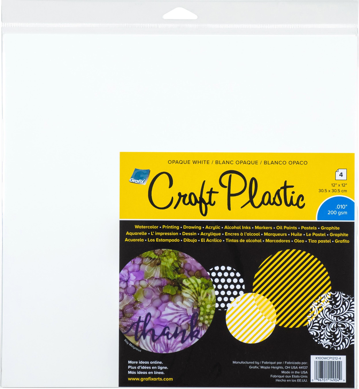 Grafix Craft Plastic Sheets 12X12 4/Pkg-Opaque White .010