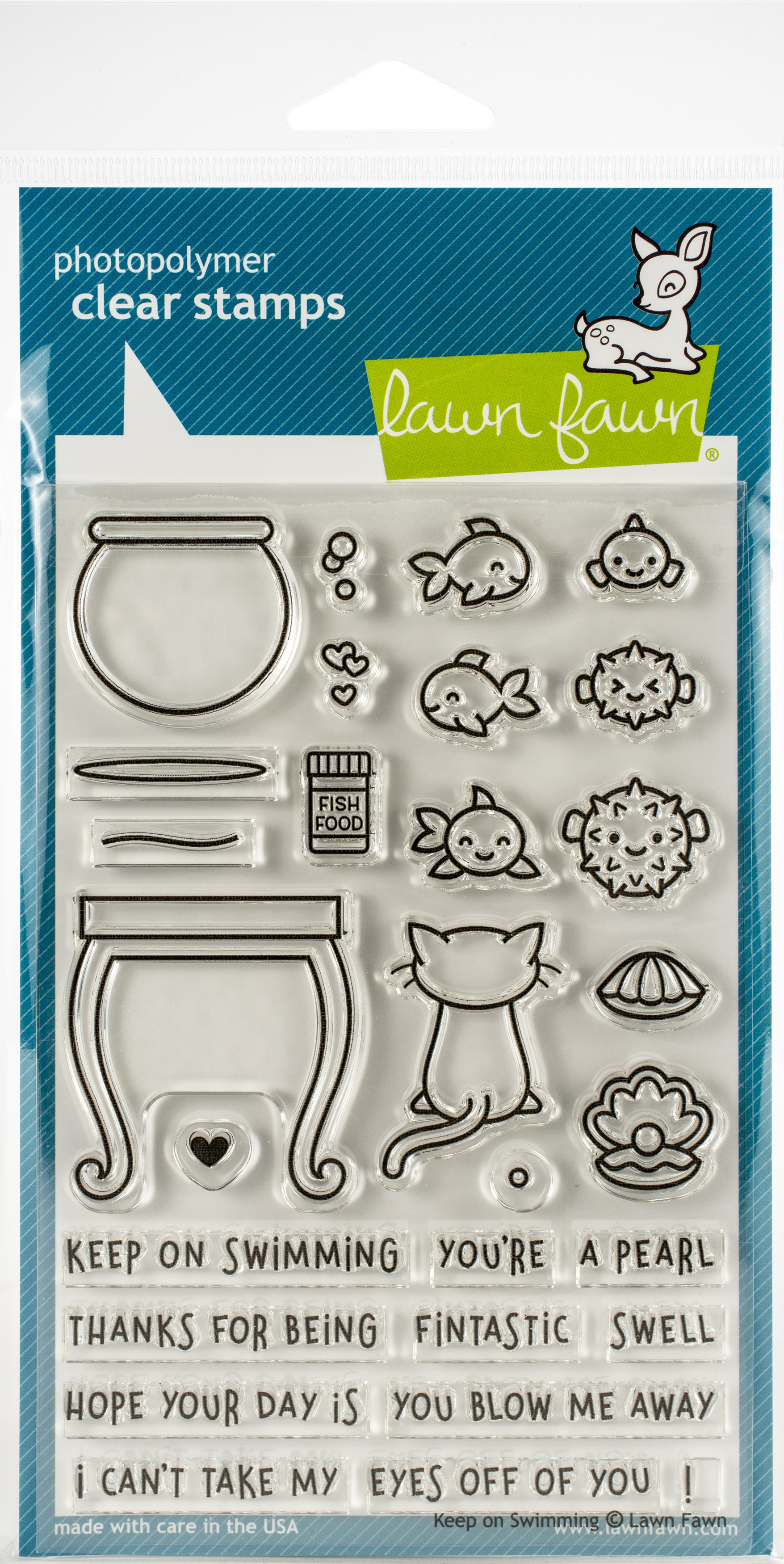 Lawn Fawn Clear Stamps 4X6-Keep On Swimming