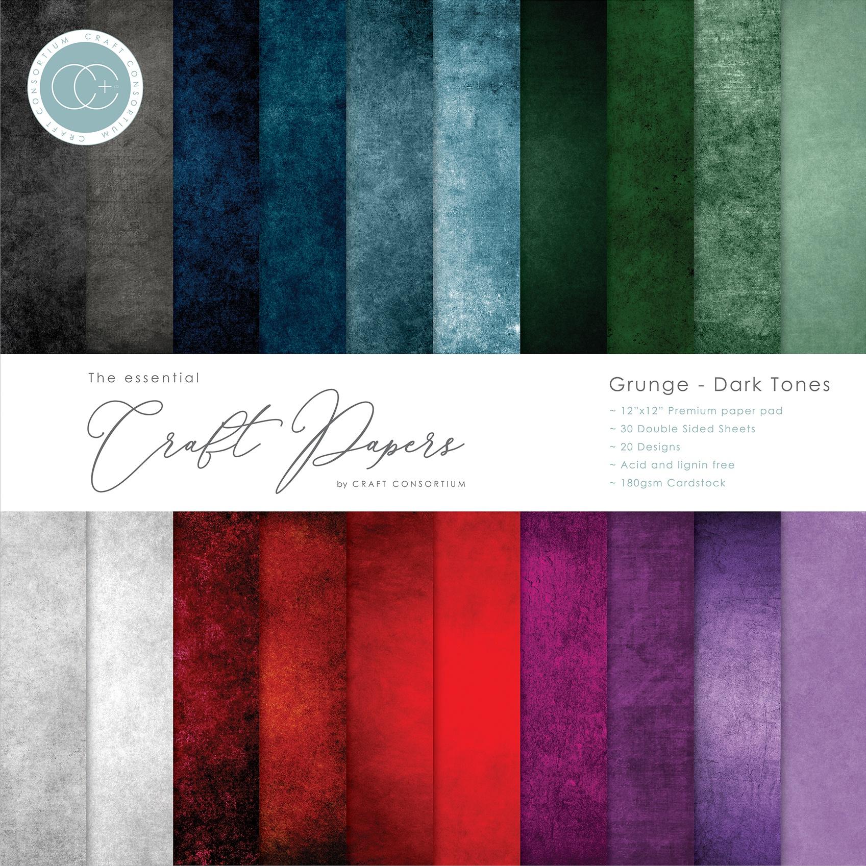 Craft Consortium Double-Sided Paper Pad 12X12 30/Pkg-Grunge-Dark Tones, 20 Des...