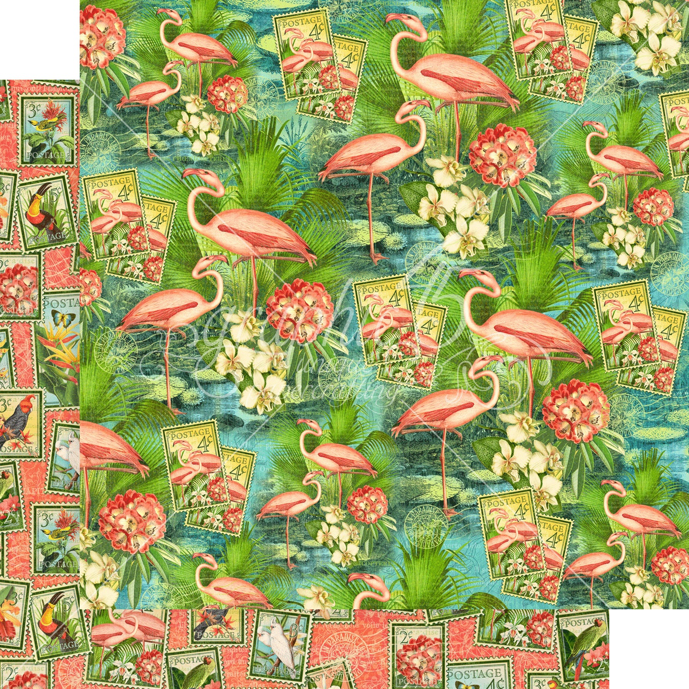 Lost In Paradise Double-Sided Cardstock 12X12-Flamingo Lagoon