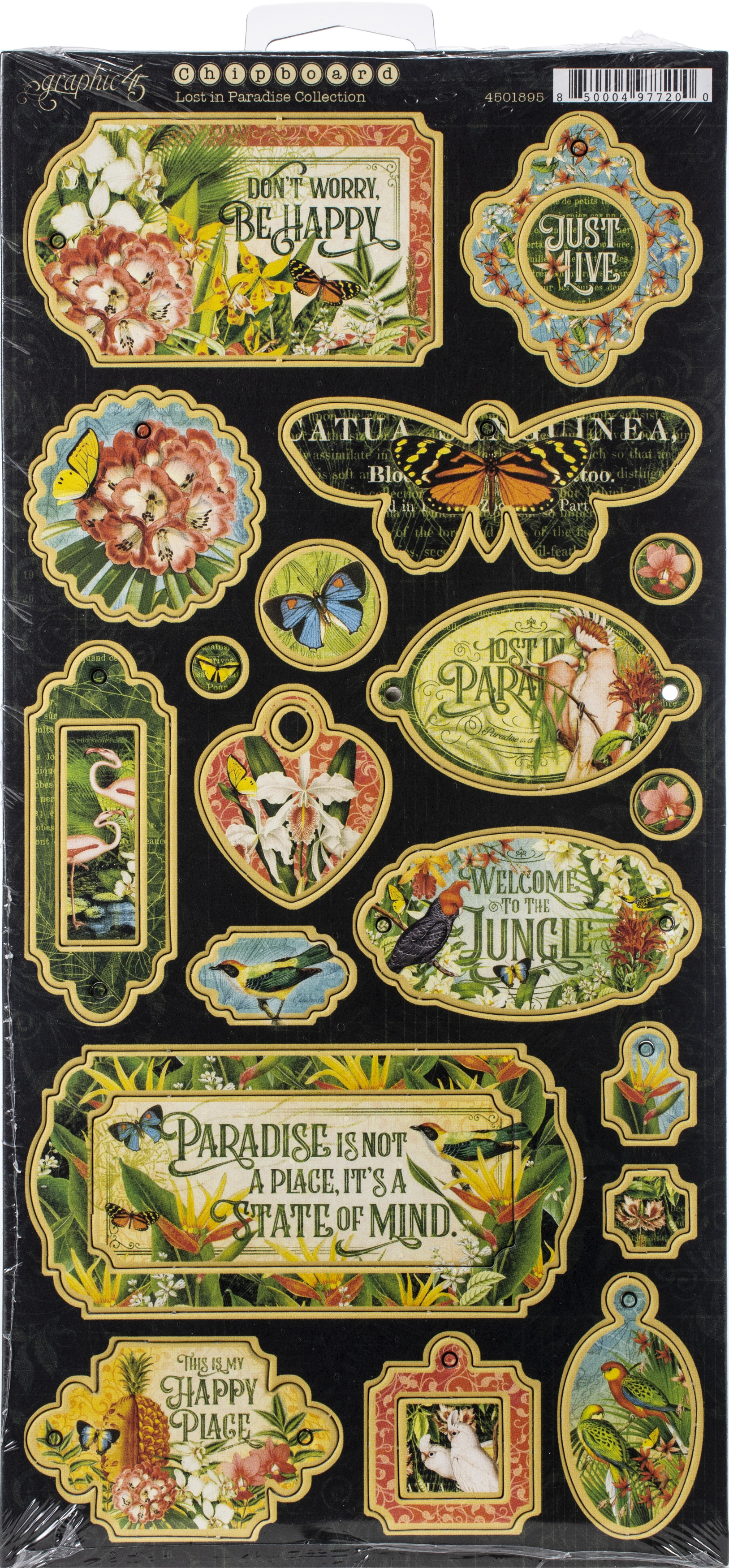 Lost In Paradise Chipboard Die-Cuts 6X12 Sheet-Decorative & Journaling