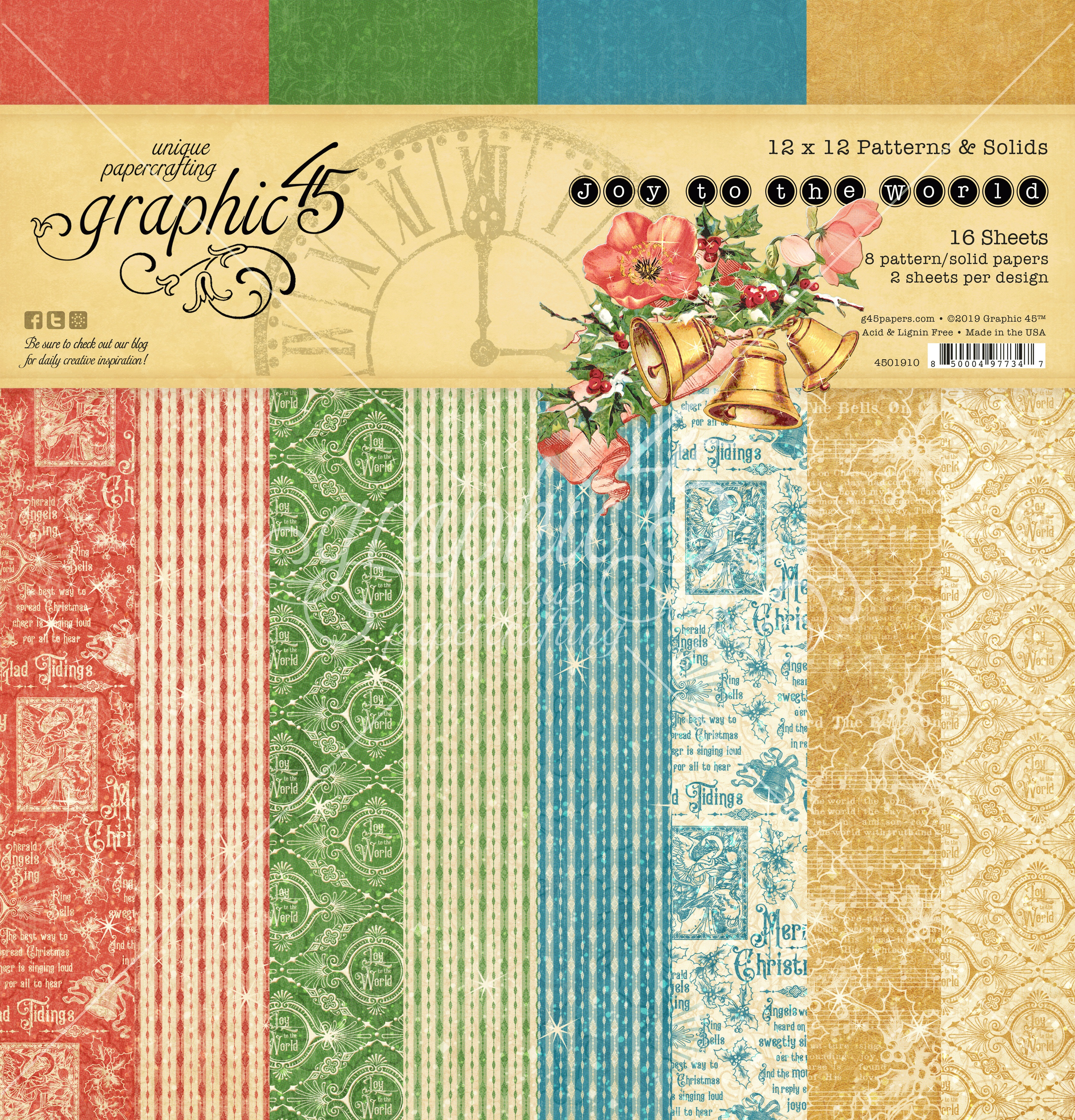 Graphic 45 Double-Sided Paper Pad 12X12 16/Pkg-Joy To The World, 8 Designs/2 Each