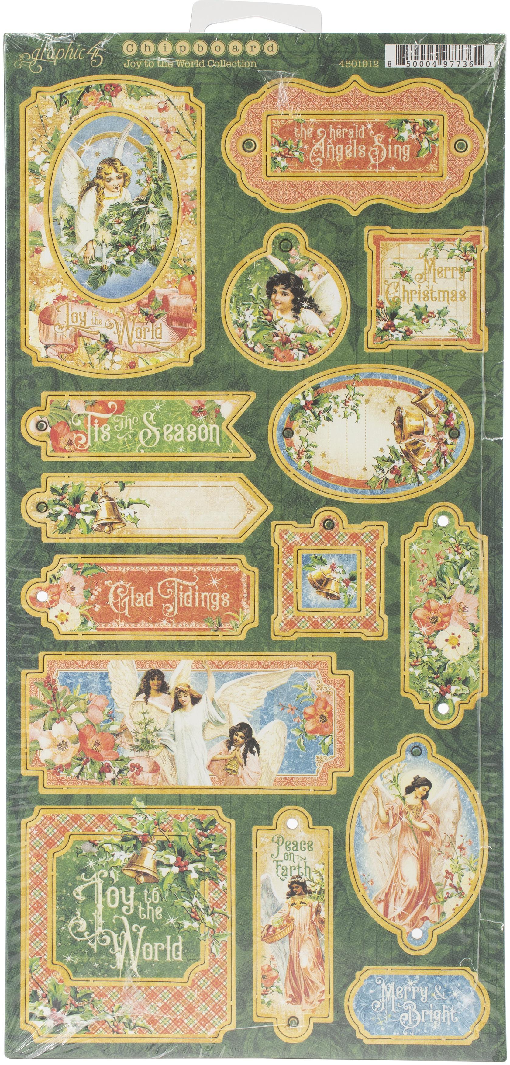 Joy To The World Chipboard Die-Cuts 6X12 Sheet-Decorative & Journaling