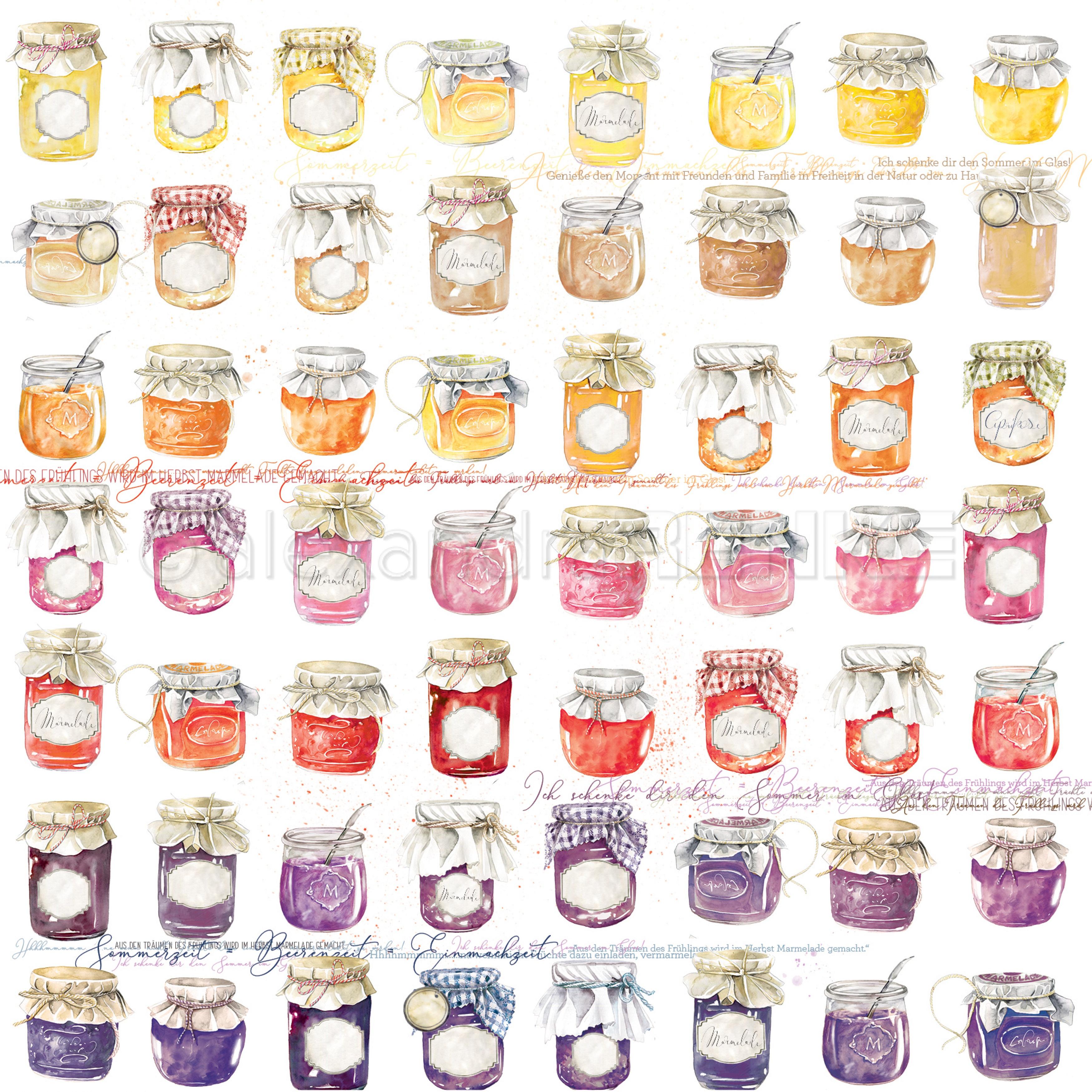 Alexandra Renke cooking cardstock 12X12 - Marmalade Jars