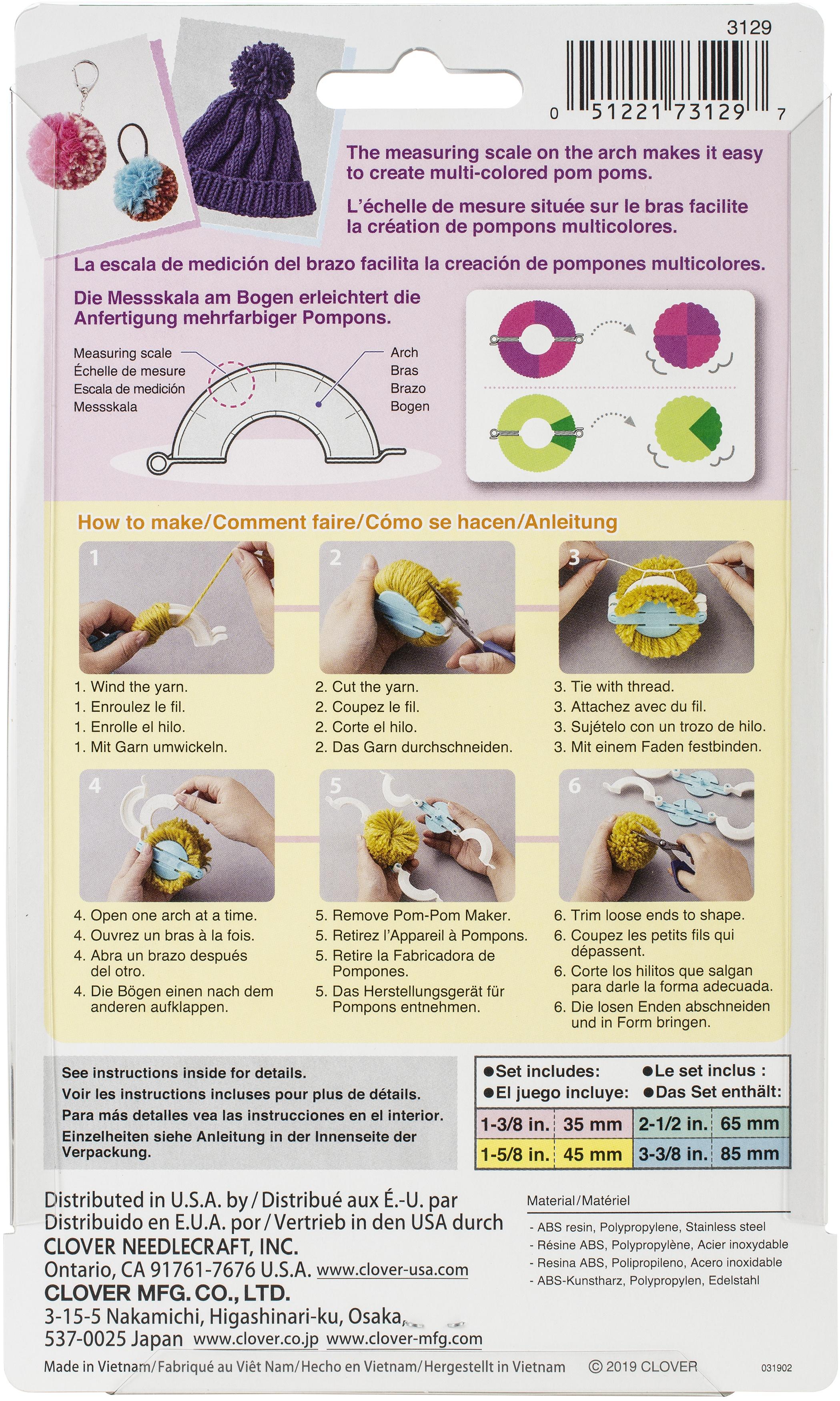 Clover Pom-Pom Maker Set-4/Pkg