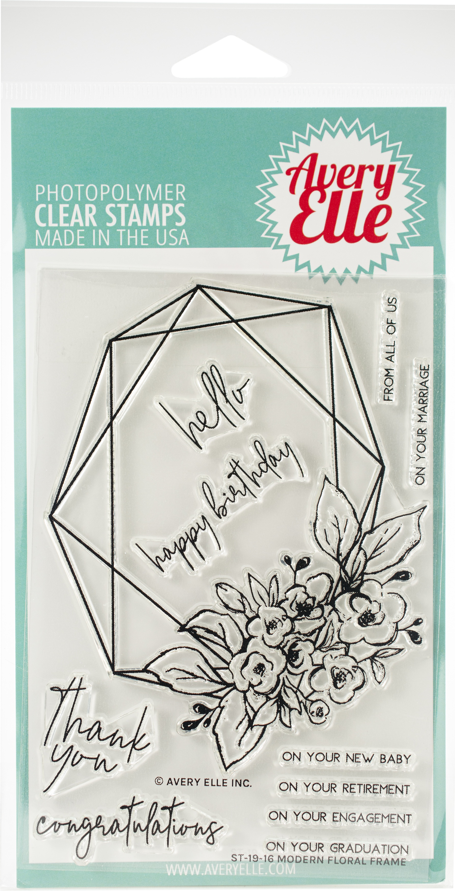 Avery Elle Clear Stamp Set 4X6-Modern Floral Frame