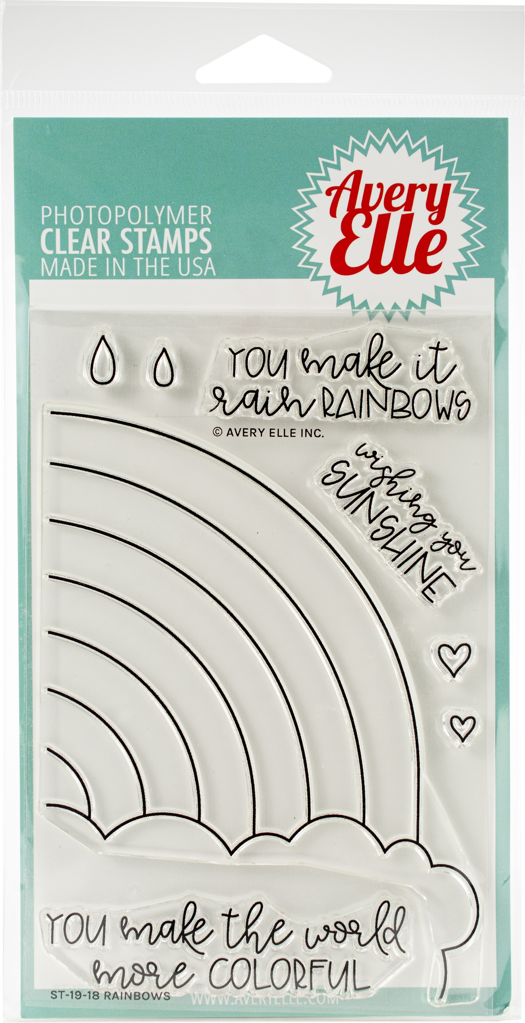Avery Elle Clear Stamp Set 4X6-Rainbows