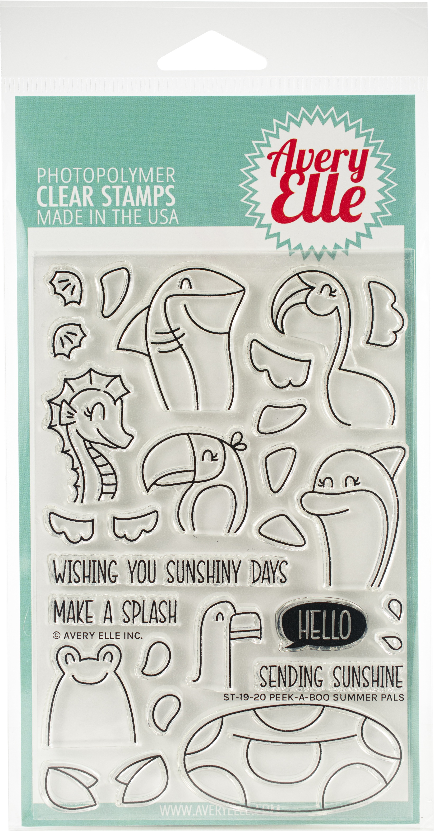 Avery Elle Clear Stamps - Peek-A-Boo Summer Pals