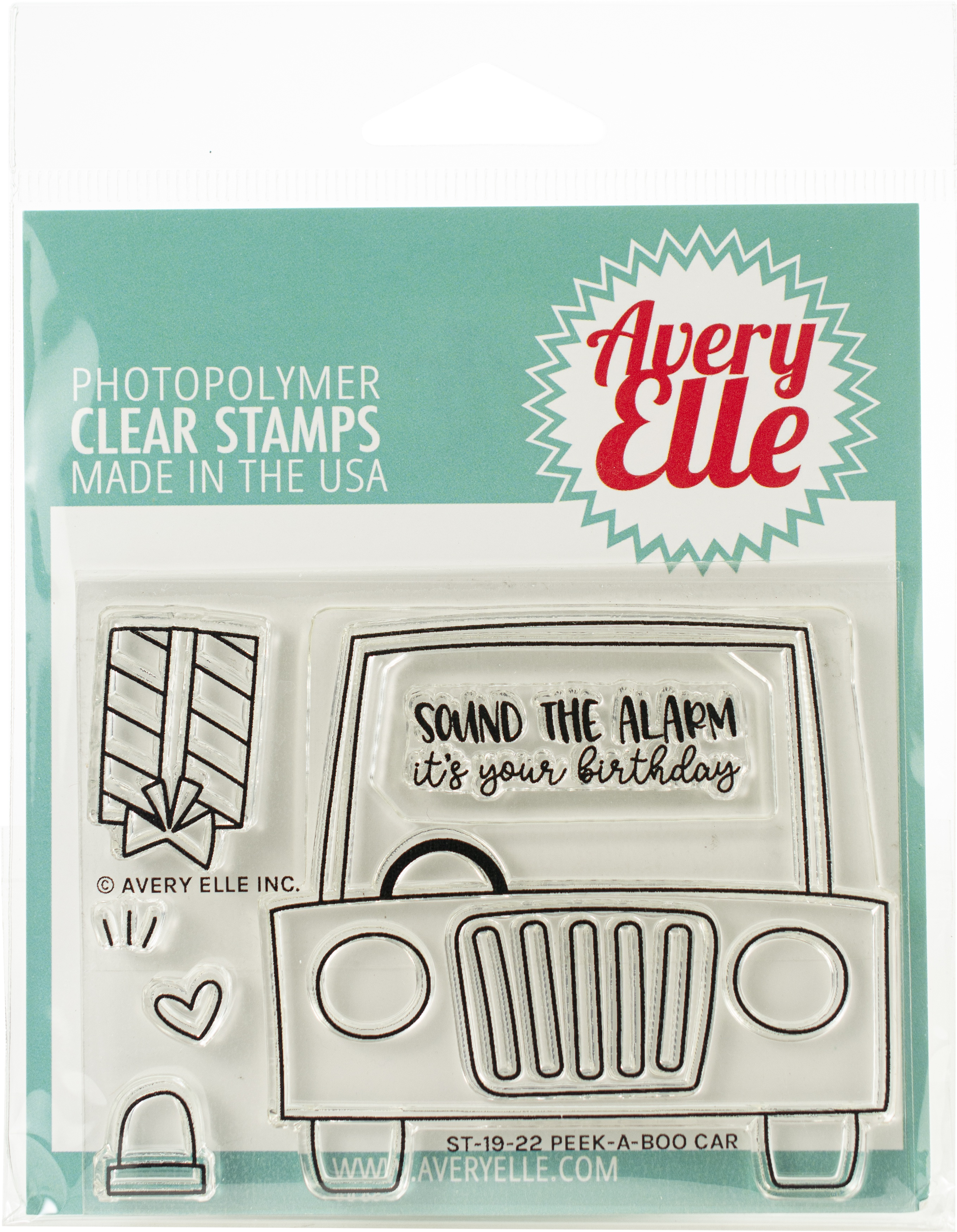 Avery Elle Clear Stamp Set 4X3-Peek-A-Boo Car