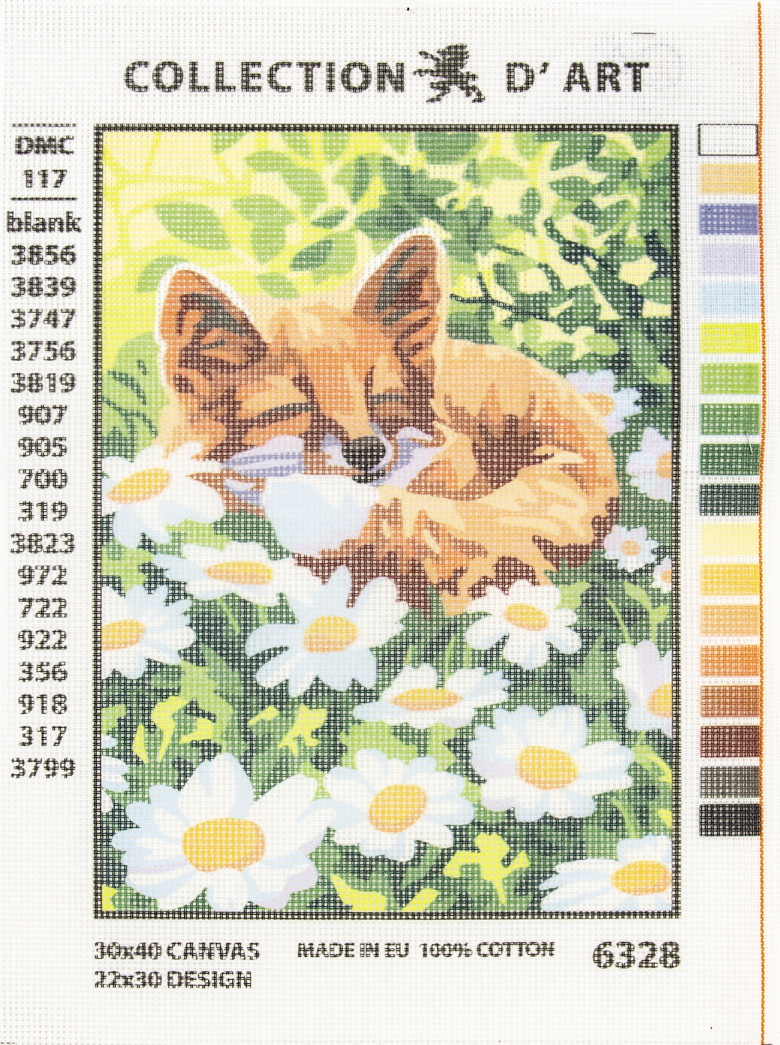 Fox Printed  Needlepoint Canvas