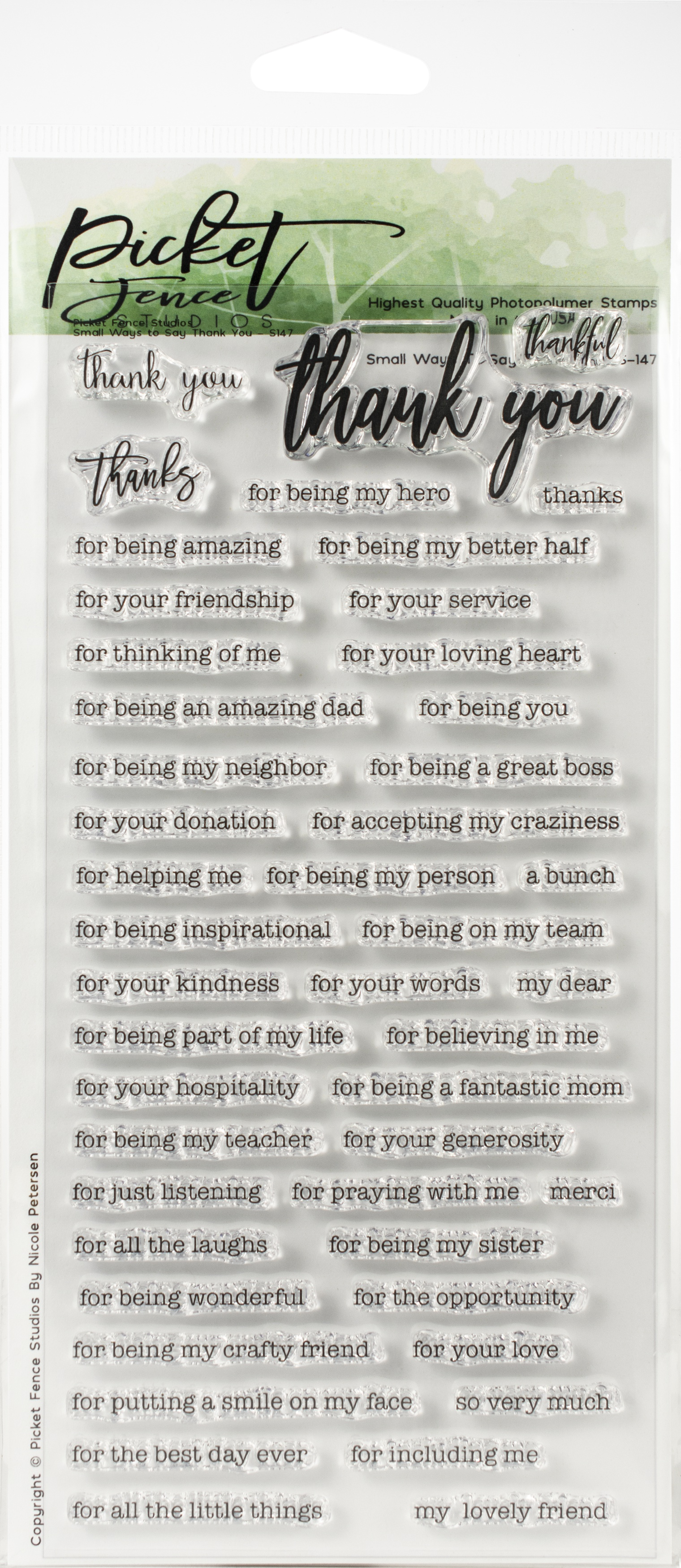 PICKET FENCE Small Ways to thank you STAMP