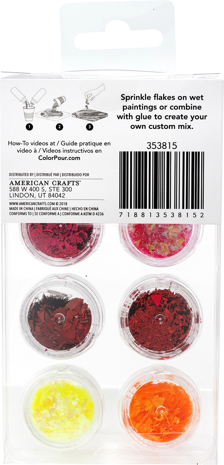 American Crafts Color Pour Foil Flakes .1oz-Warm, 6/Pkg