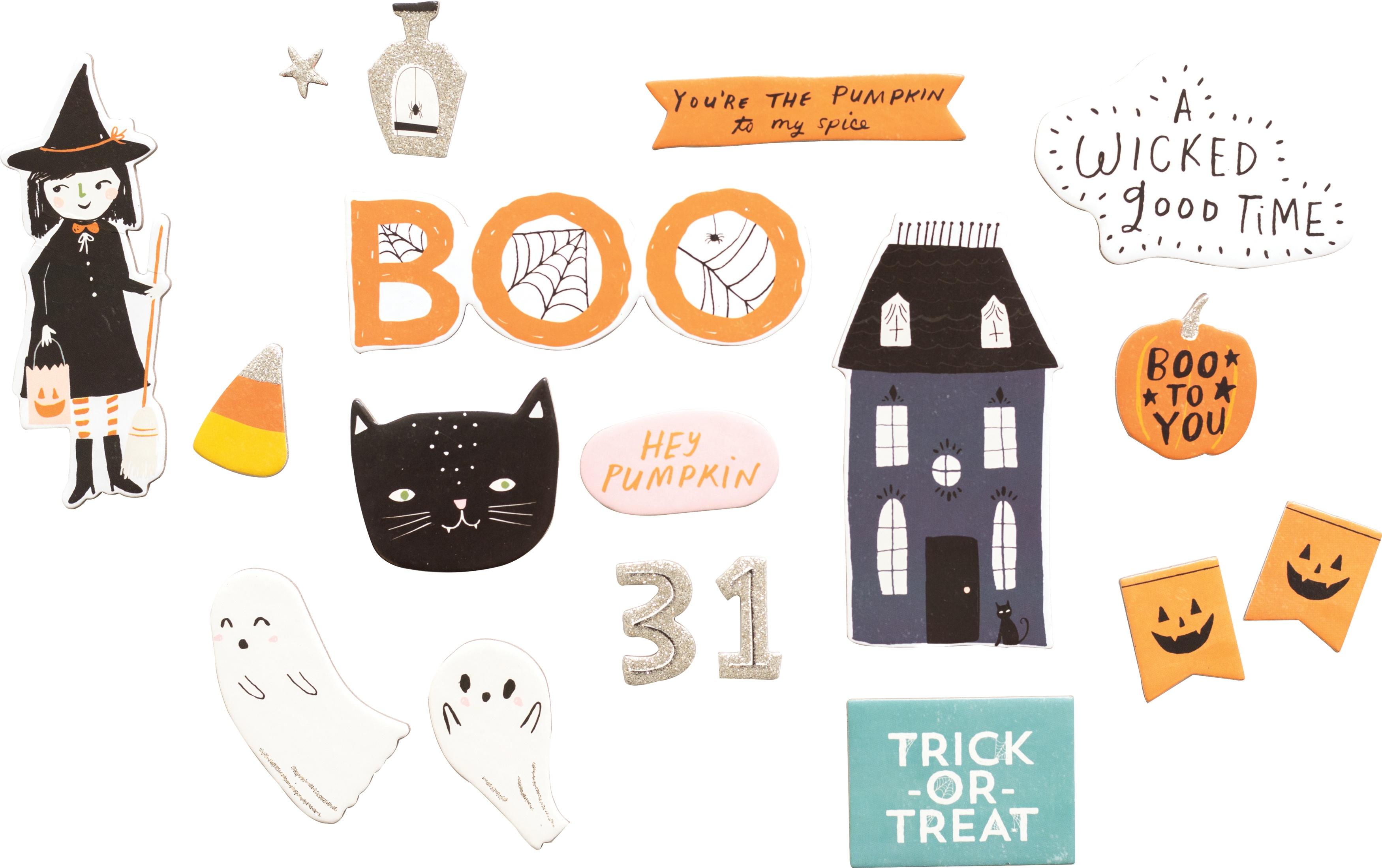 Hey, Pumpkin Chipboard Stickers 64/Pkg-W/Silver Glitter Accents