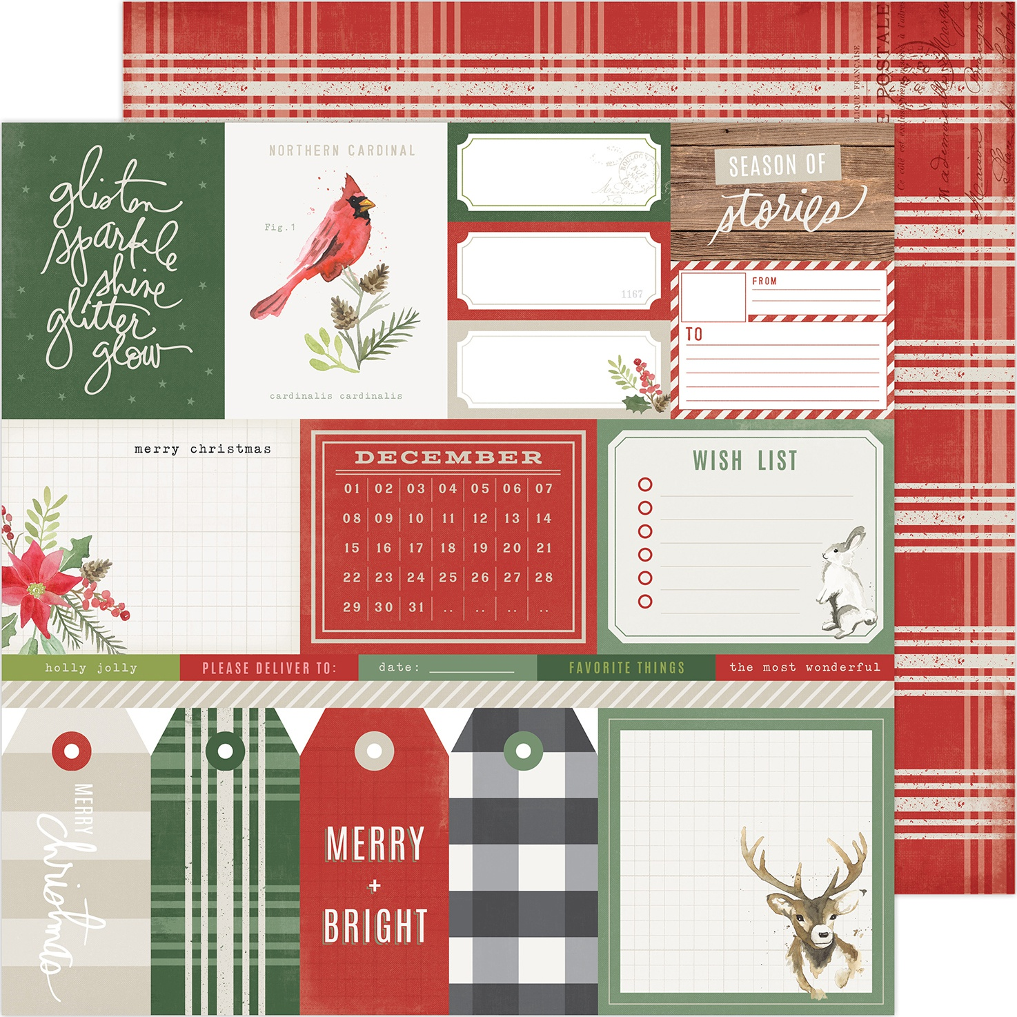 Heidi Swapp Winter Wonderland Double-Sided Cardstock 12X12-Merry & Bright