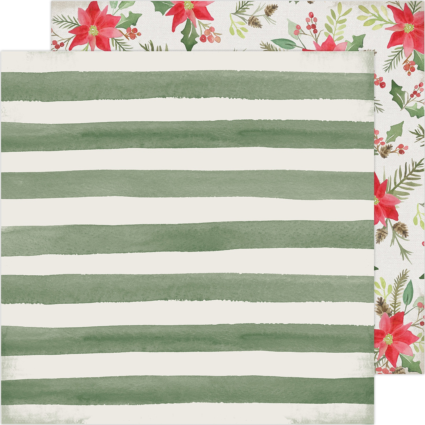 Heidi Swapp Winter Wonderland Double-Sided Cardstock 12X12-Poinsettia Lane