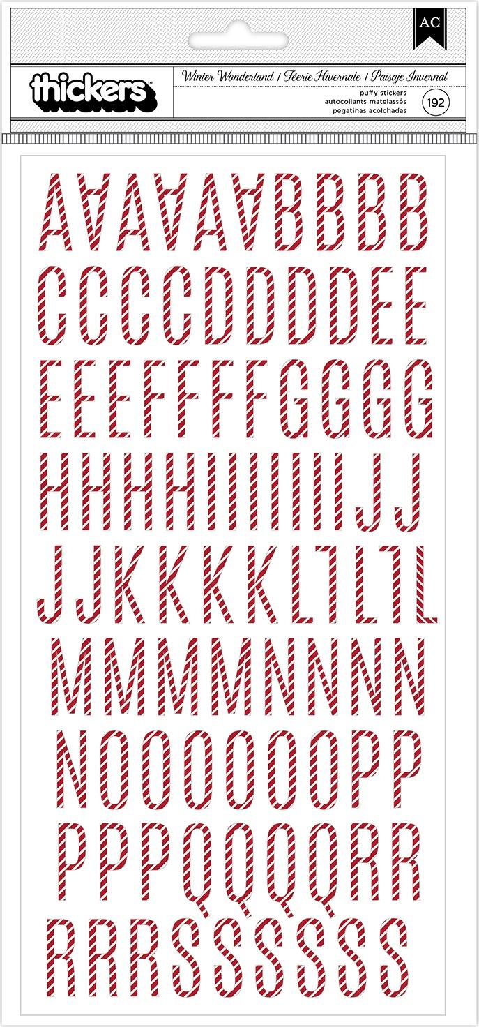Heidi Swapp Winter Wonderland Thickers Stickers 192/Pkg-Alphabet/Red & White Puf...