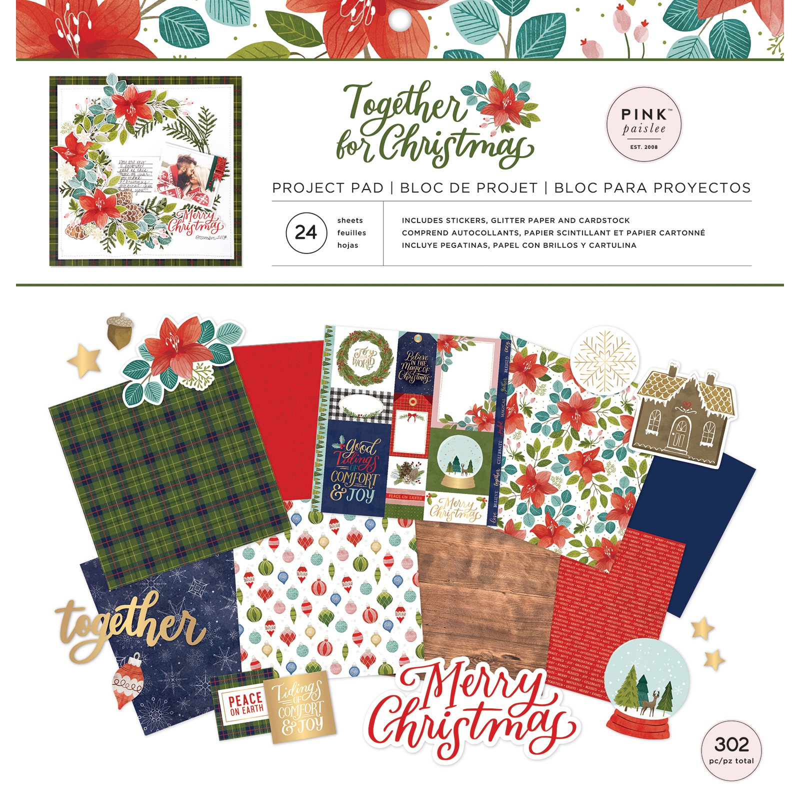 Pink Paislee Project Pad 12X12-Together For Christmas