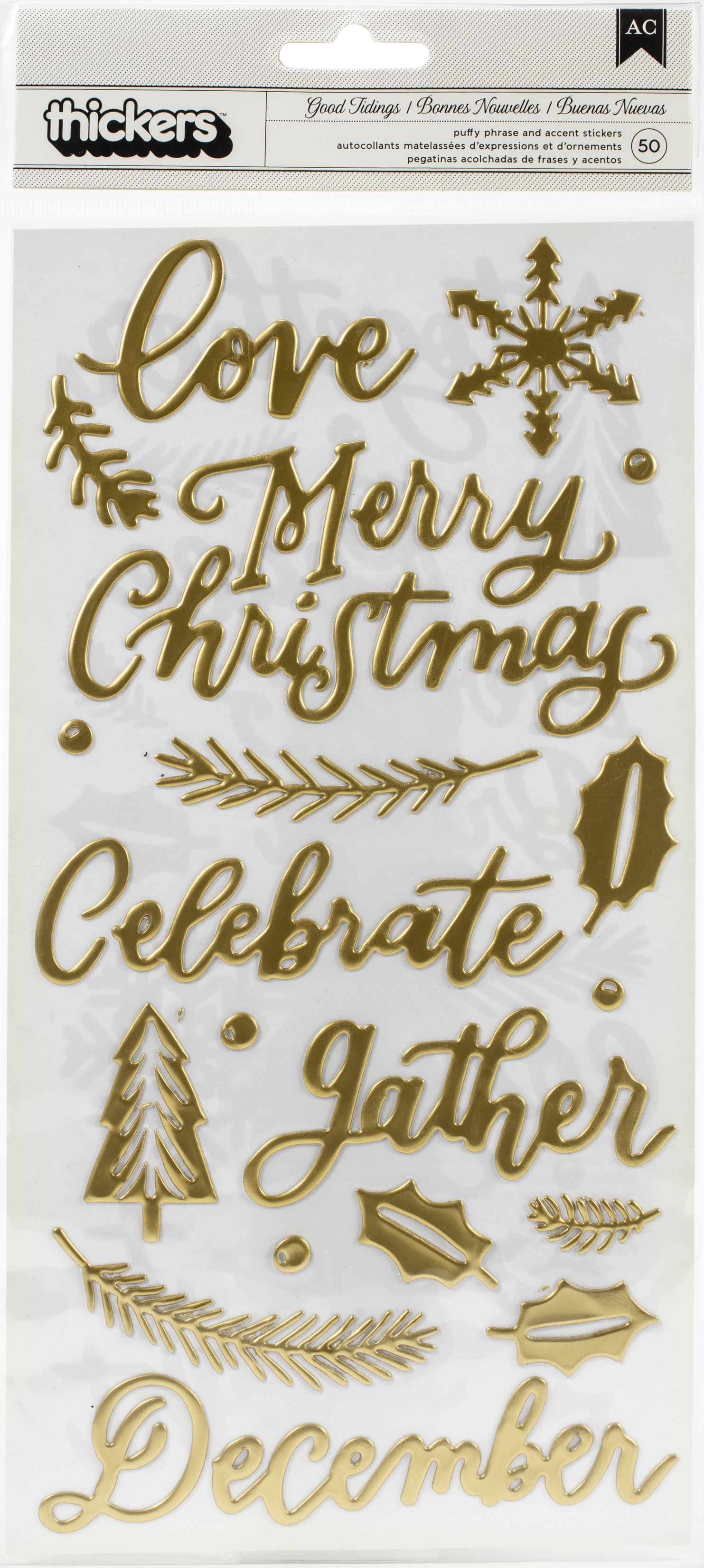 Together For Christmas Thickers Stickers 5.5X11 50/Pkg-Good Tidings Phrase & I...