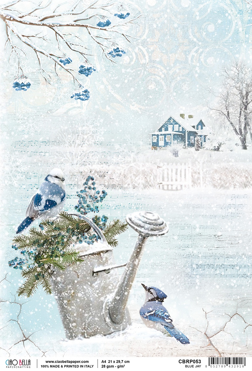 Ciao Bella Rice Paper Sheet A4 Blue Jay