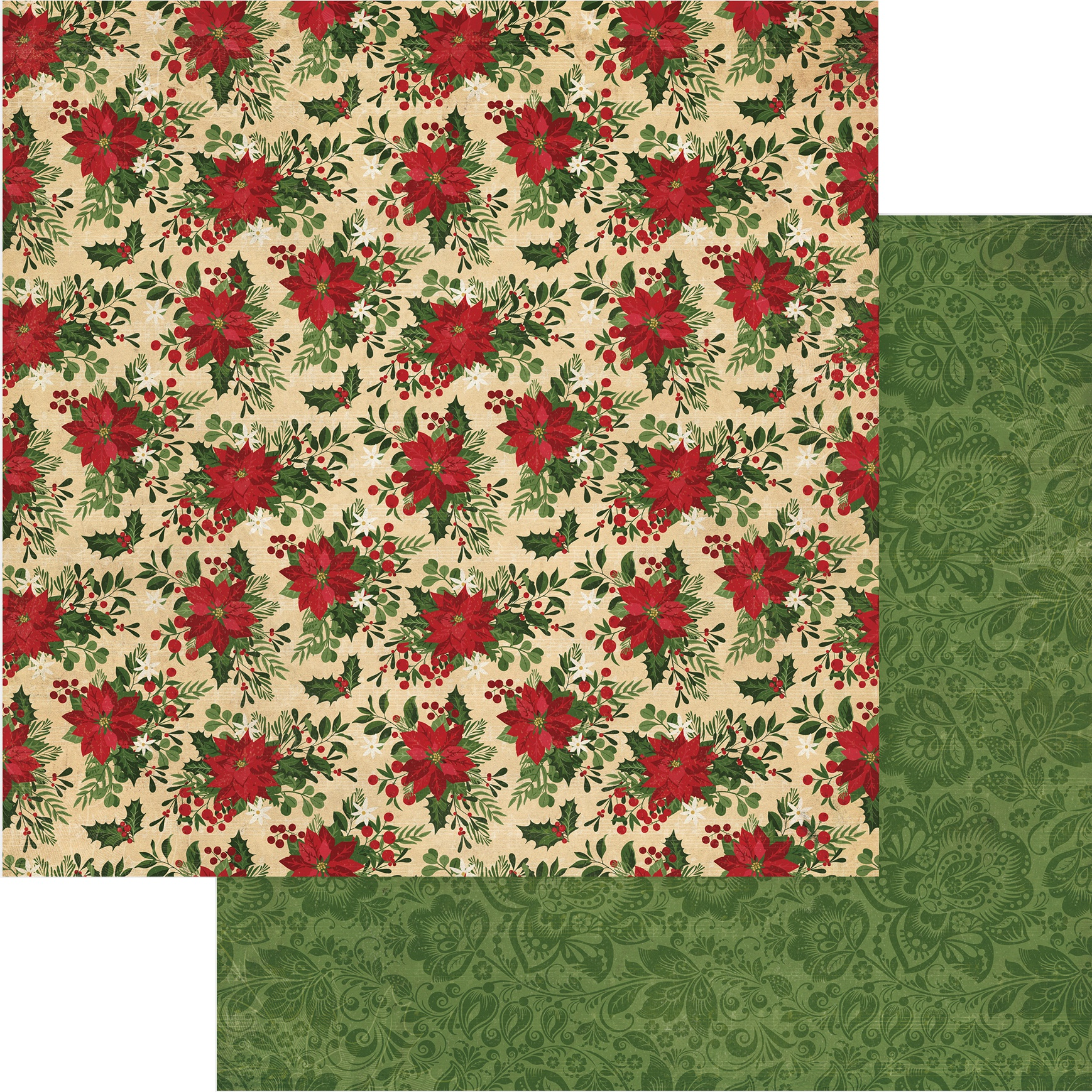 Christmas Memories Double-Sided Cardstock 12X12-Poinsettia