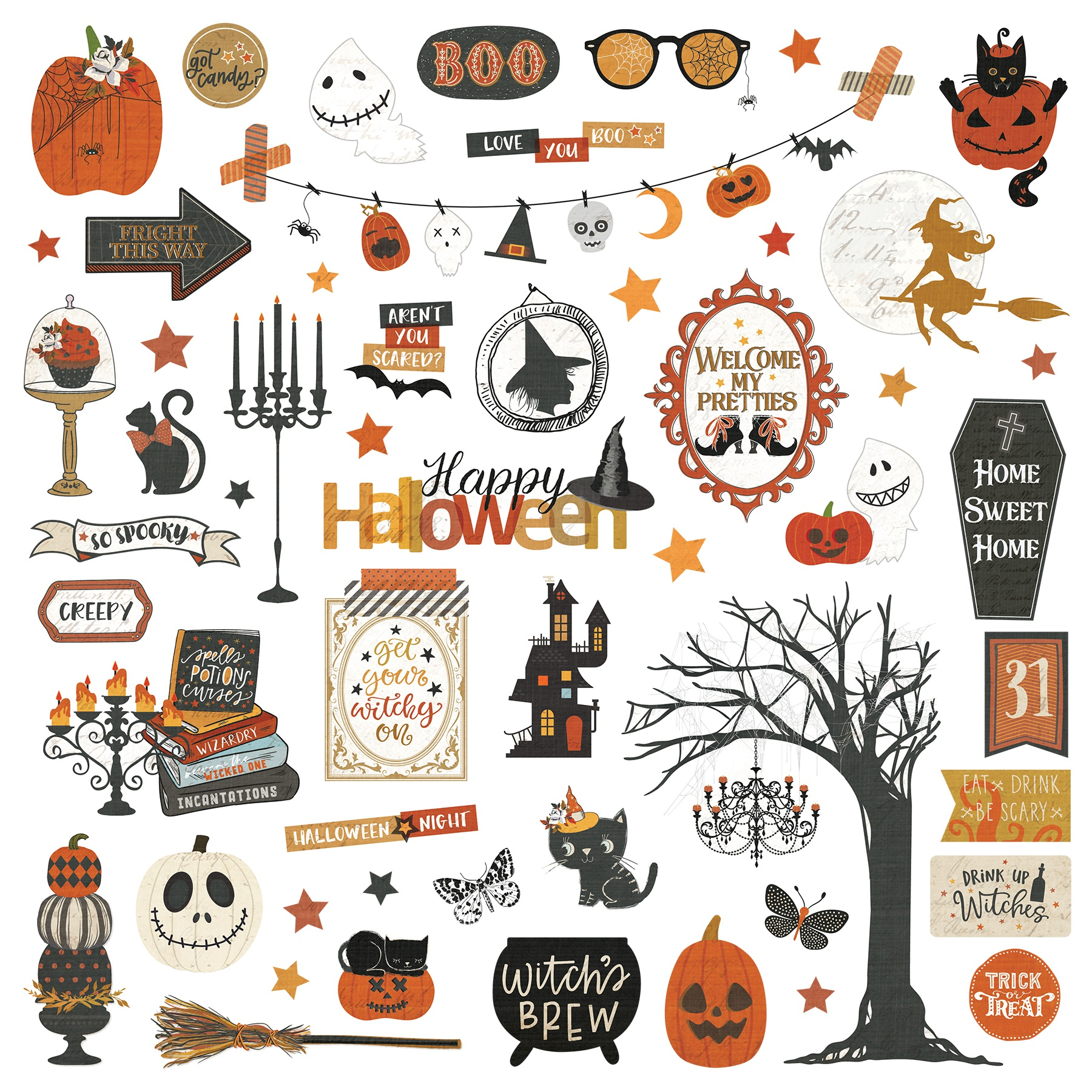 All Hallows' Eve Stickers 12X12-Elements